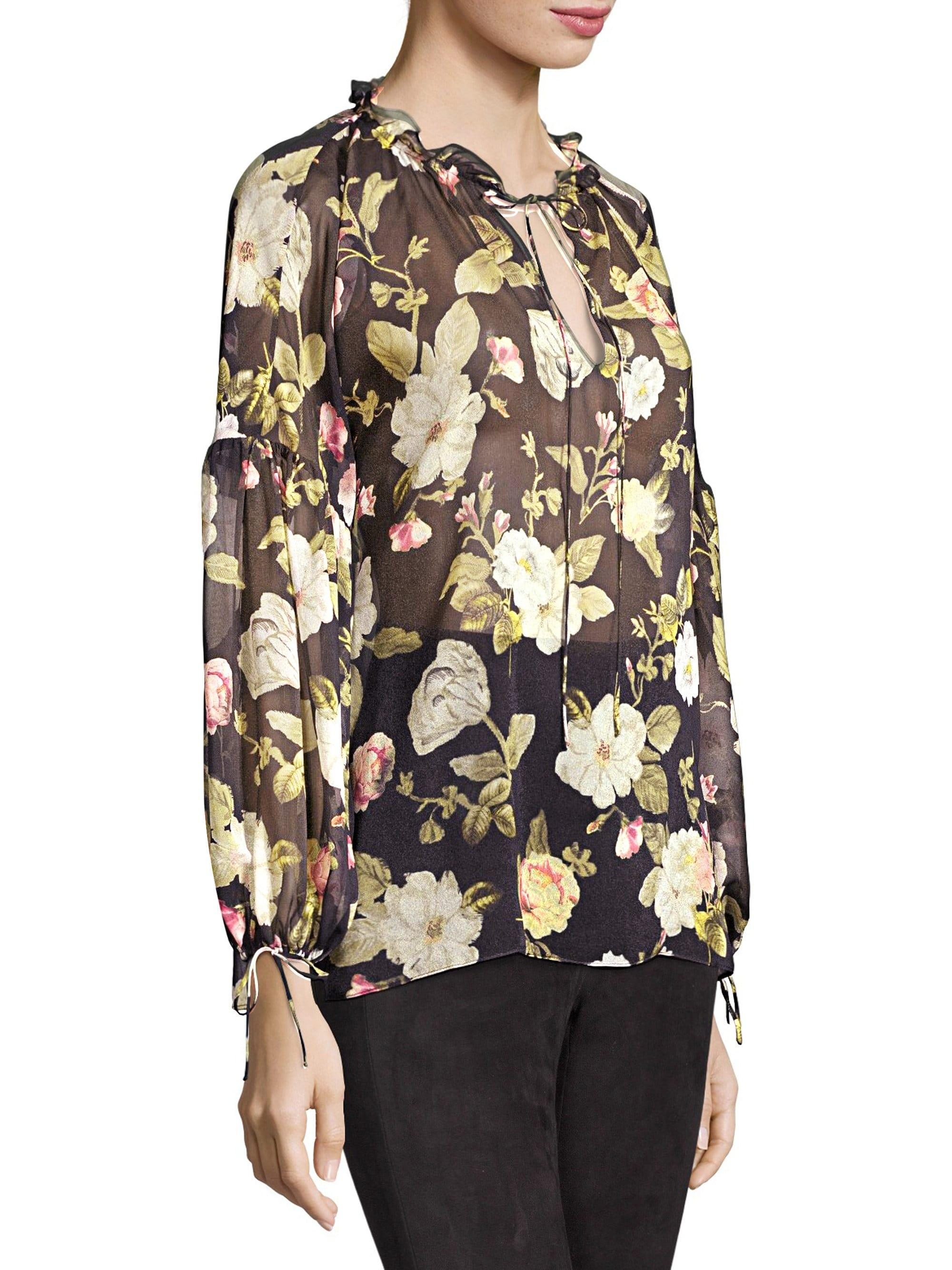0678954dd58164 Alice + Olivia Julius Balloon Sleeve Floral Silk Blouse in Black - Lyst