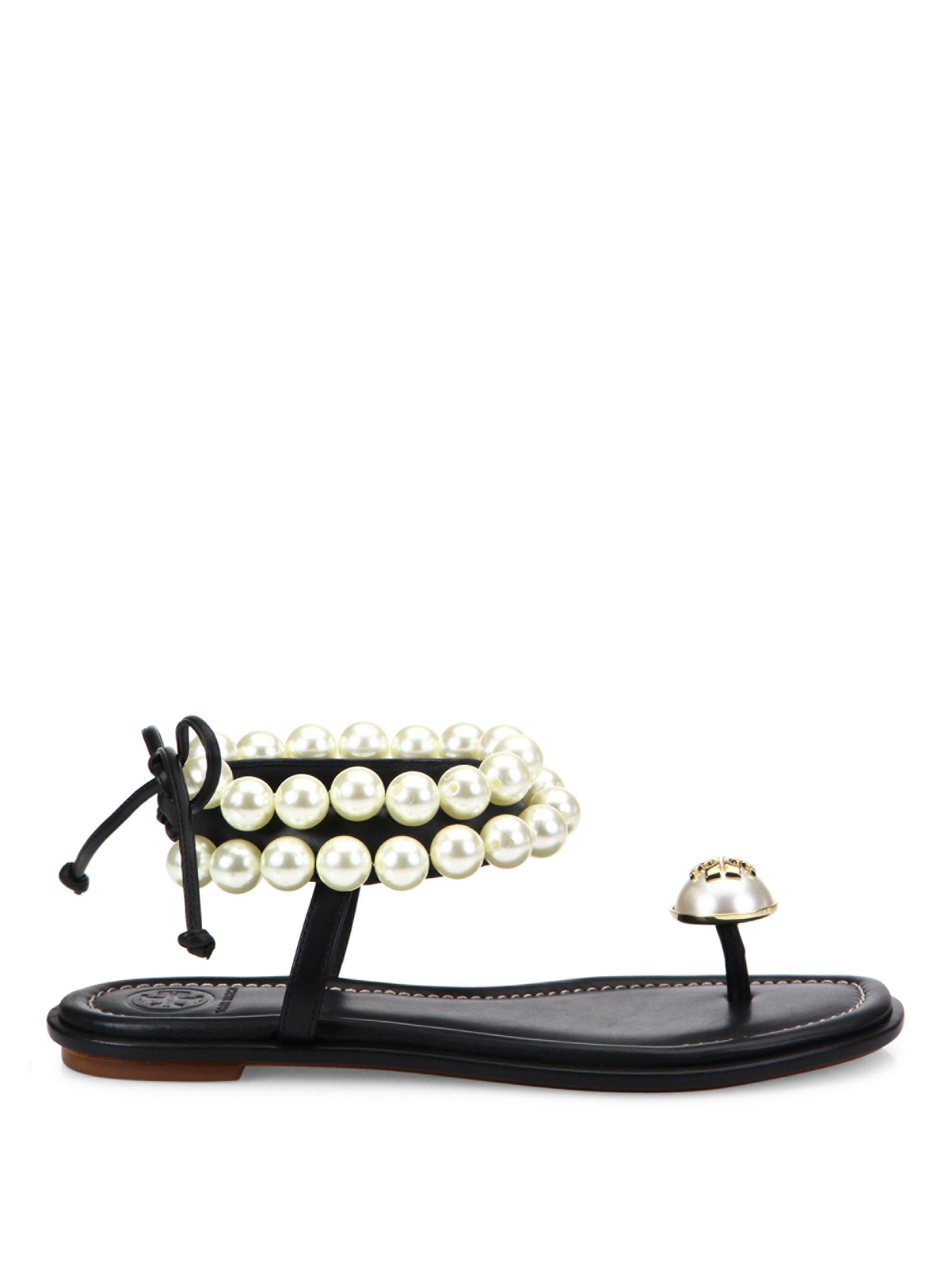 0d53e999b2a0 Lyst - Tory Burch Melody Pearly Ankle-wrap Flat Sandal in Black