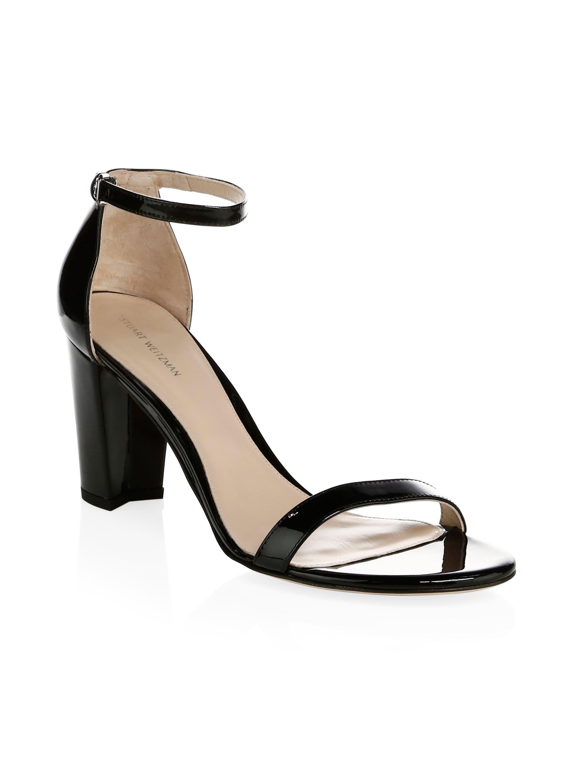 087a3254ec Stuart Weitzman - Black Nearlynude Patent Leather Block Heel Sandals -  Lyst. View fullscreen