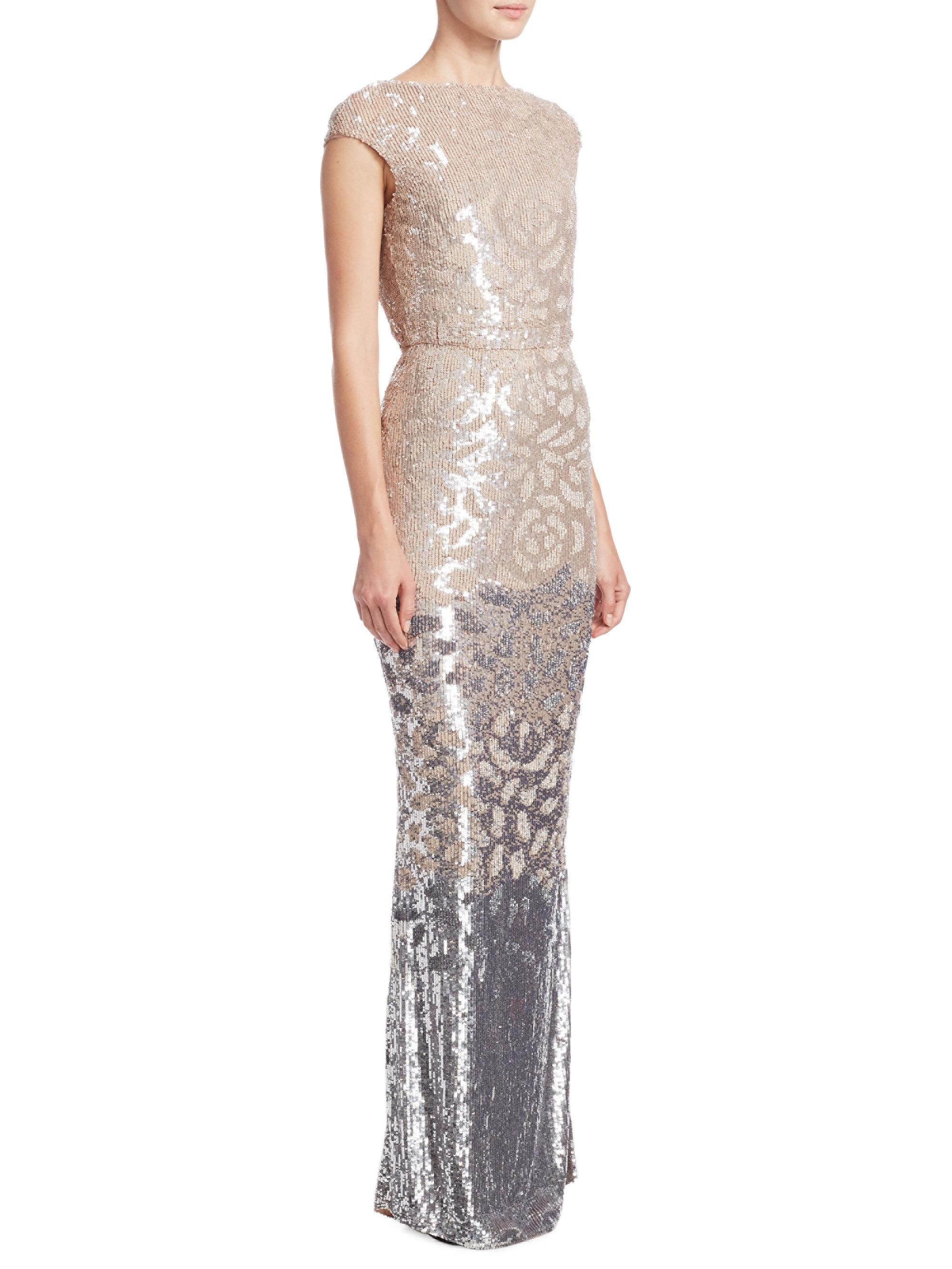 Lyst - Rachel Gilbert Carlotta Embellished Gown in Metallic