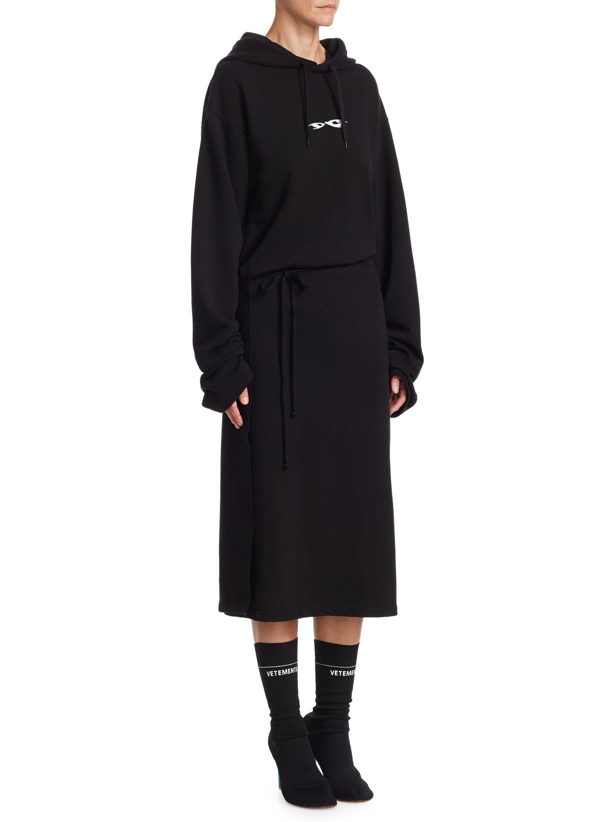 Black Hoodie Wrap Dress VETEMENTS BN3yWH
