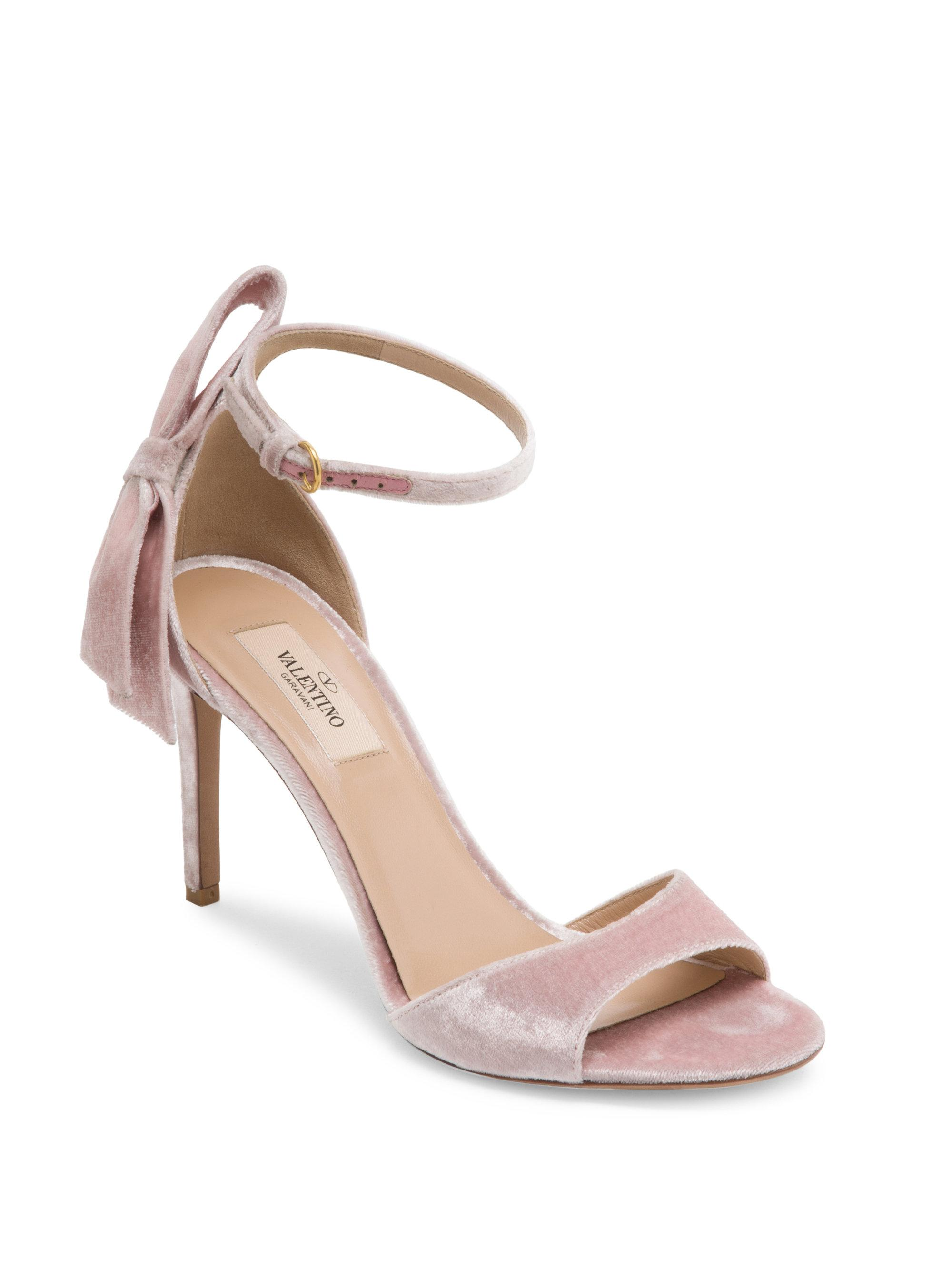 87521a664376 Lyst - Valentino Pretty Bow Velvet Ankle-strap Sandals in Pink