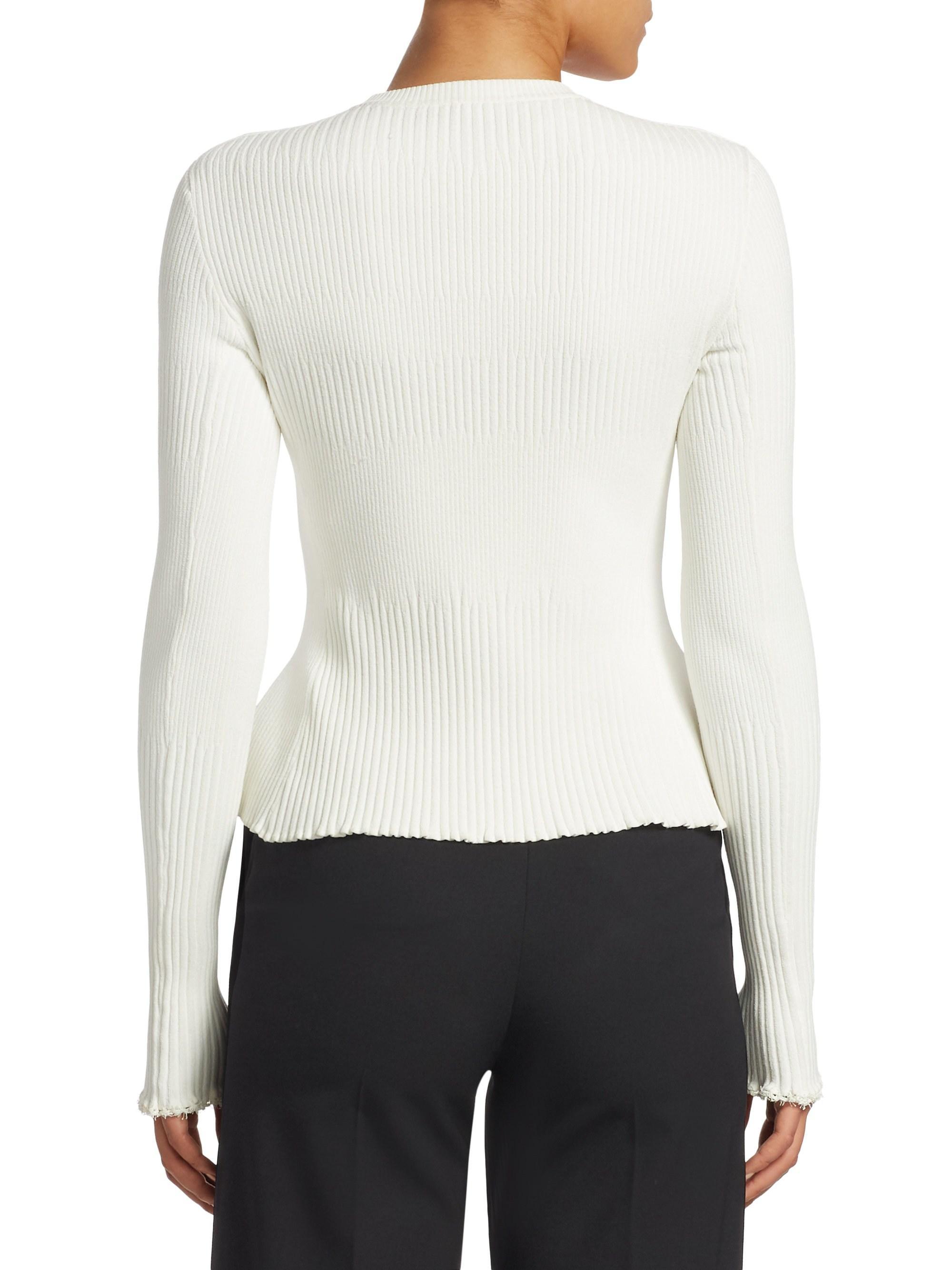 4333b17301de Lyst - Proenza Schouler Knit Peplum Cardigan in White