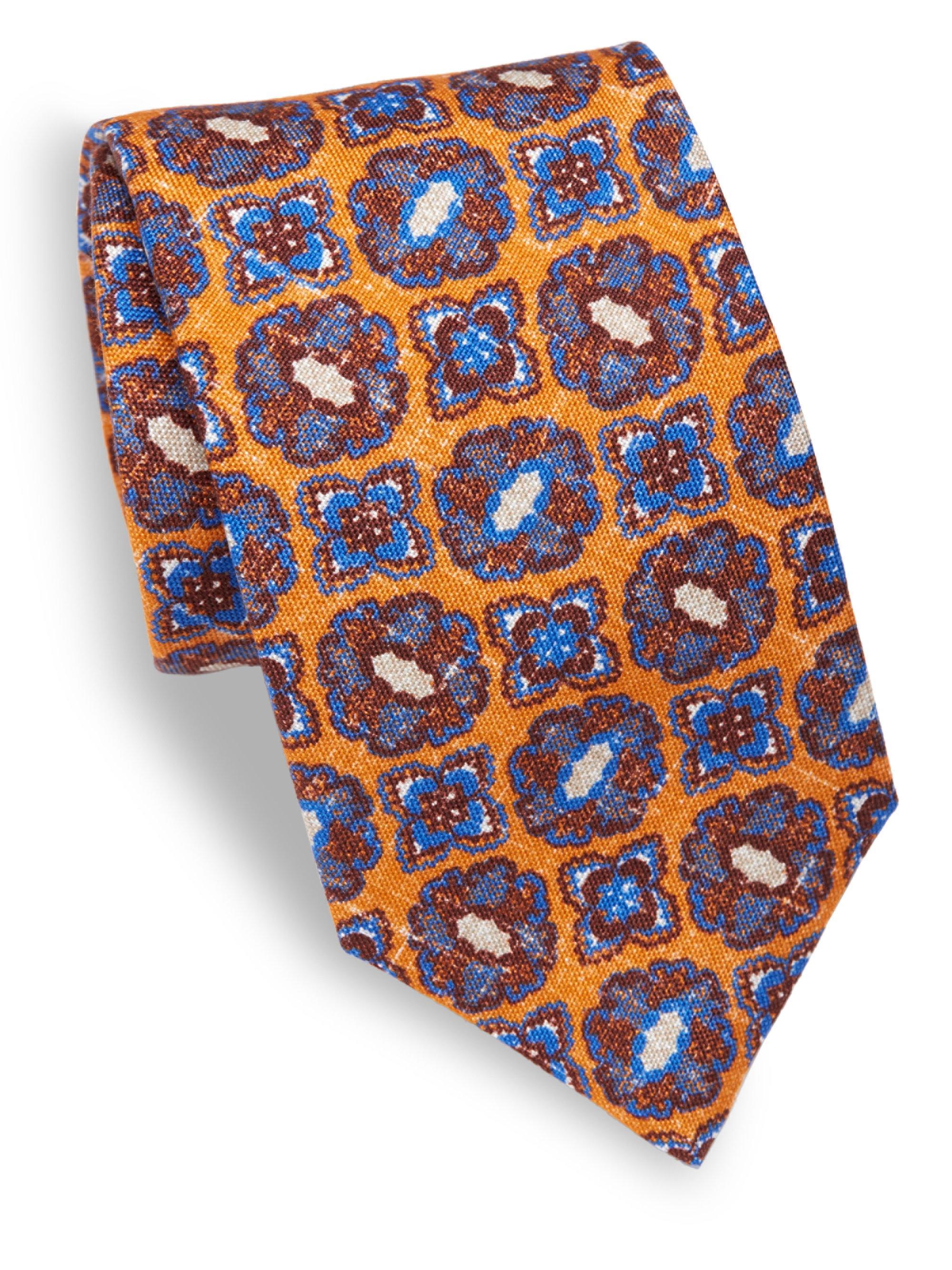 Mens Medallion Wool-Silk Necktie Isaia JPV2oopyg