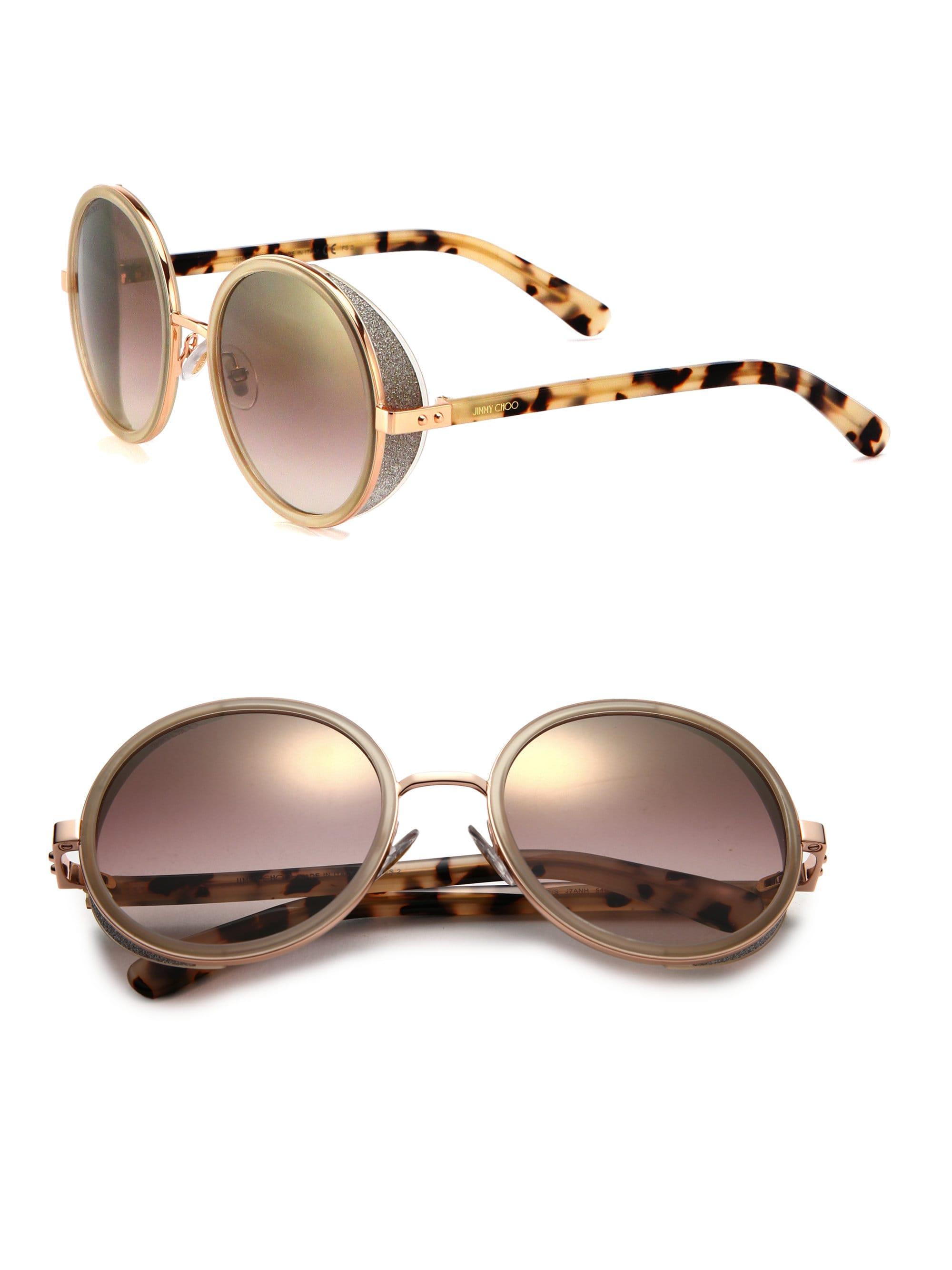 36da3560083 Jimmy Choo - Metallic Women s 54mm Andie Glitter-trim Round Sunglasses -  Gold Tortoise -. View fullscreen