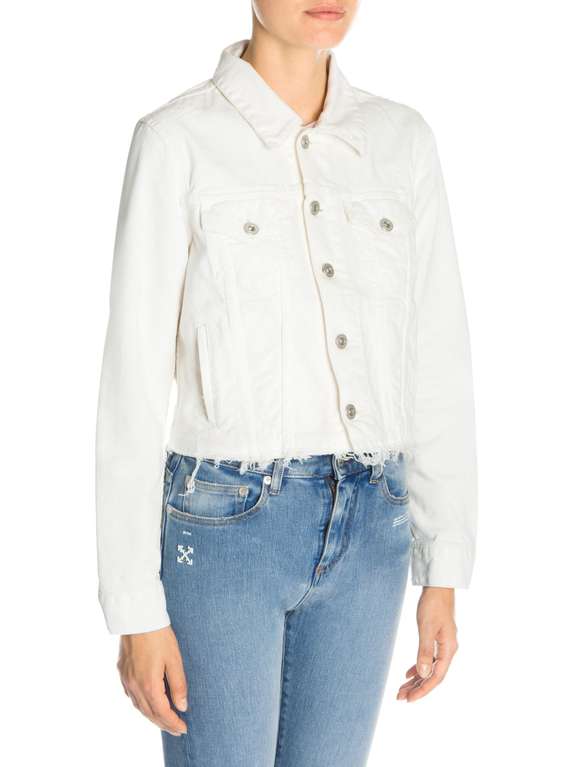 62ed7b67d682 Lyst - Off-White c o Virgil Abloh Women s Floral Embroidered Denim Jacket -  White Ecru - Size 42 (6) in Blue