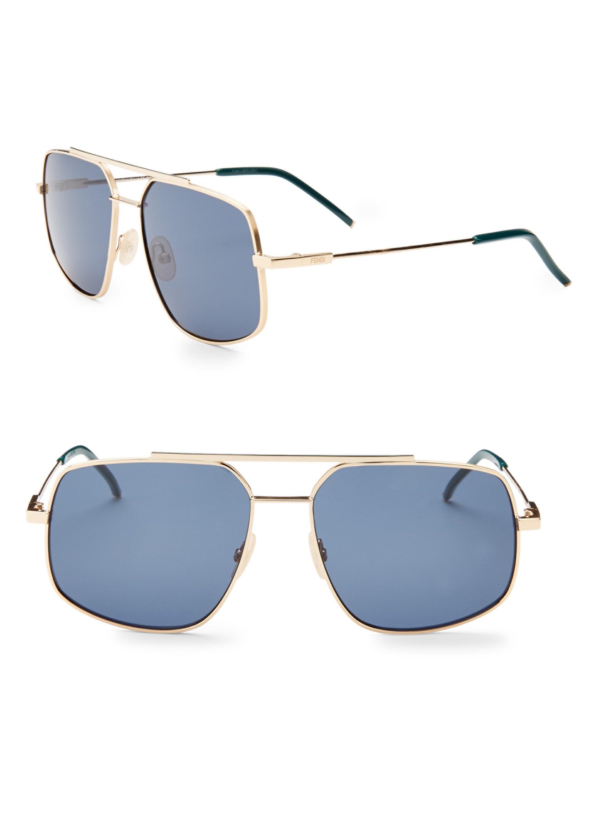 e7c652dbc85 Lyst - Fendi 58mm Square Sunglasses in Blue