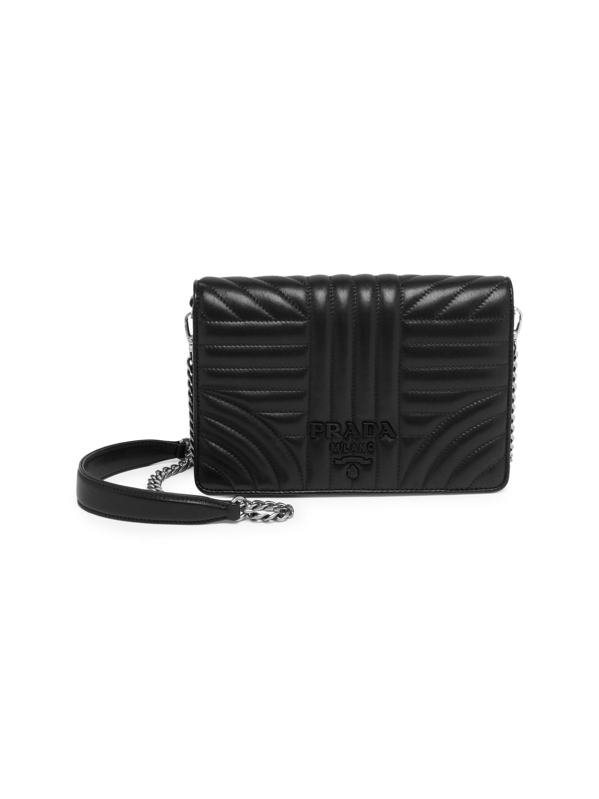 08bcc528f5ad Prada Women's Diagramme Nappa Impunture Shoulder Bag - Black in ...