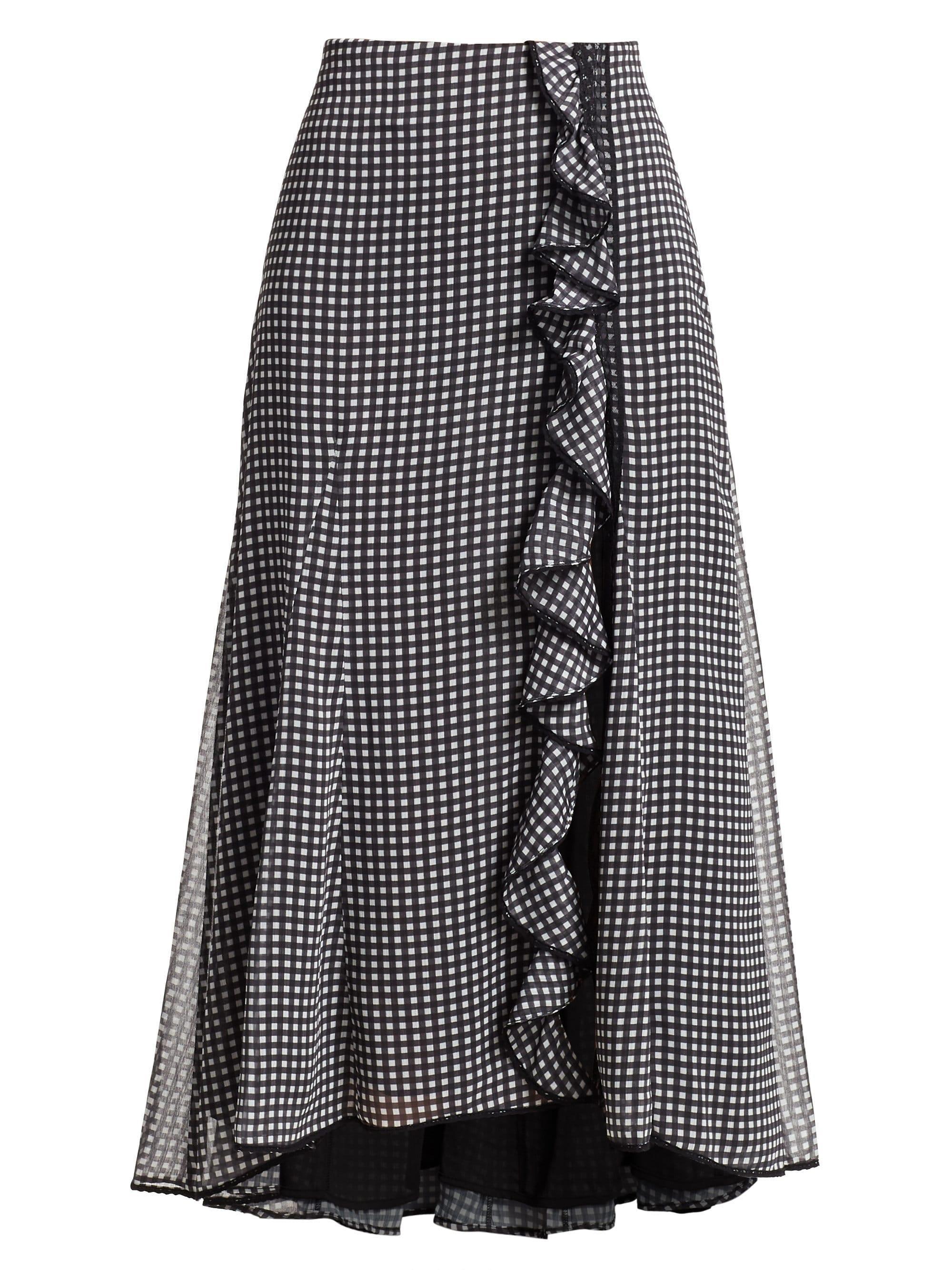 c4d60fdf0f86 Black And White Gingham Maxi Skirt
