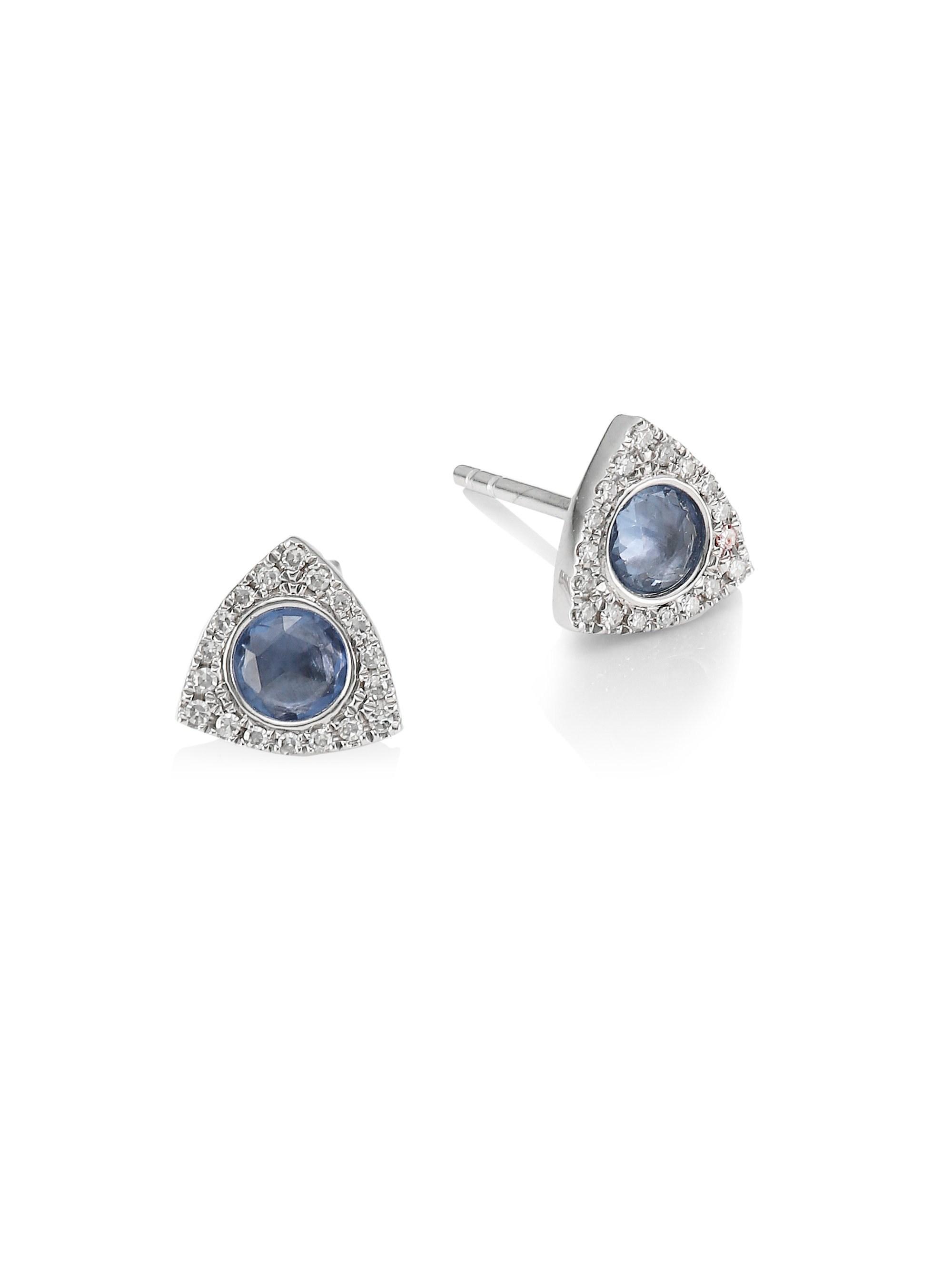 3d622887e Meira T. Women's Metallic 14k White Gold, Blue Sapphire & Diamond Stud  Earrings