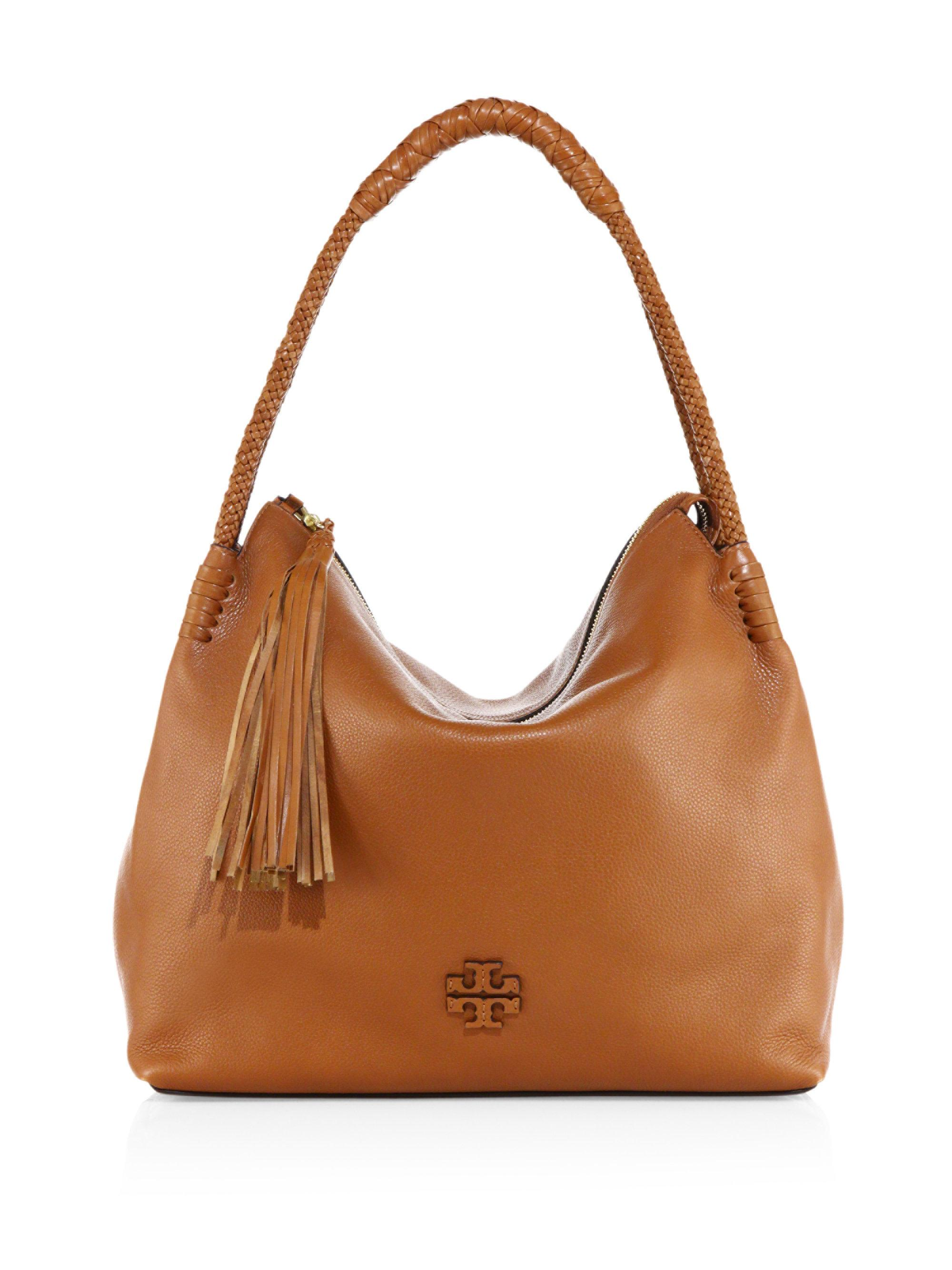 f871cf60668 Tory Burch Taylor Leather Hobo Bag in Brown - Lyst