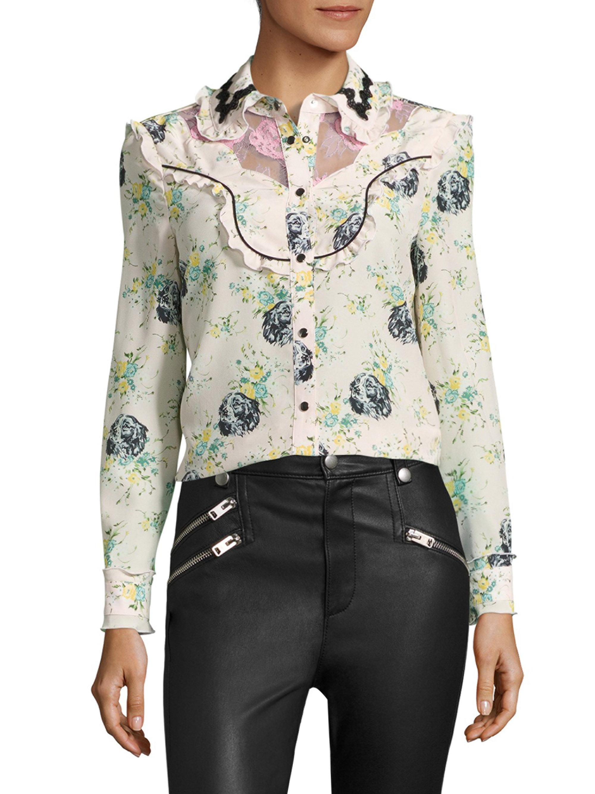 02e3ad5820508 Lyst - COACH Printed Silk   Lace Western Blouse