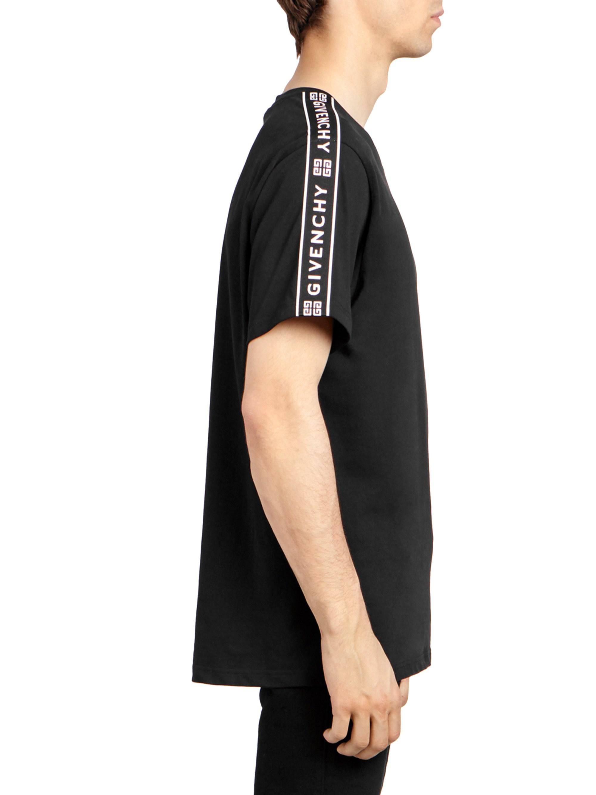 b3d0251665fc Givenchy Men s Shoulder-tape Logo T-shirt - Black in Black for Men - Lyst