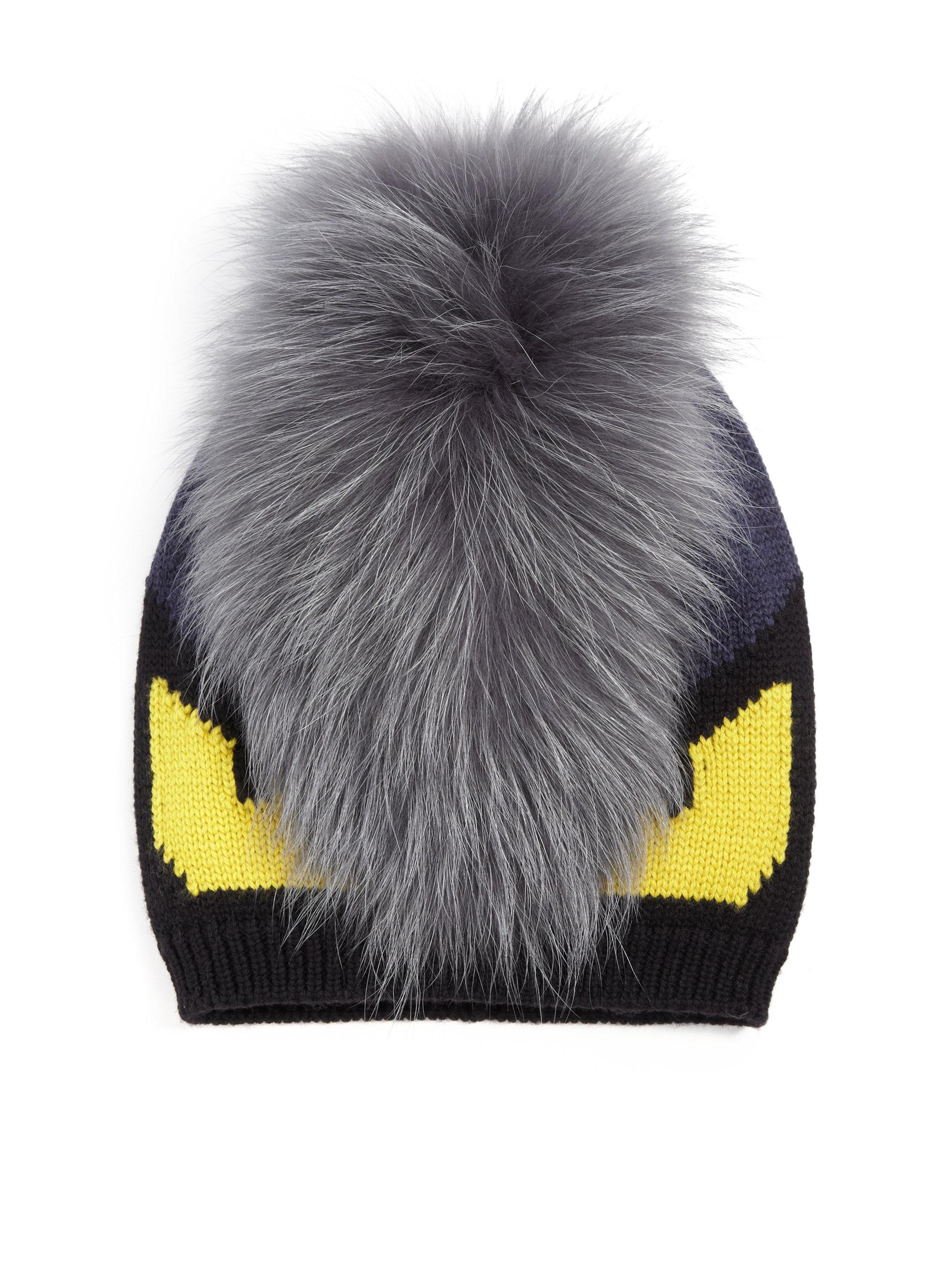 Lyst - Fendi Monster Fur-trimmed Wool Hat in Black for Men b00eed1ca7e