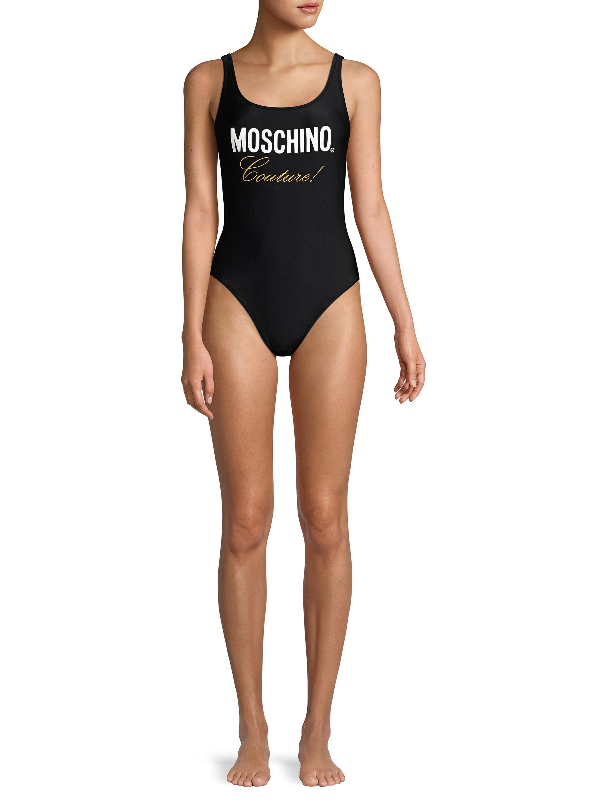 8e68c258aa4360 Moschino Flash Swim Couture Graphic One-piece Swimsuit in Black - Lyst