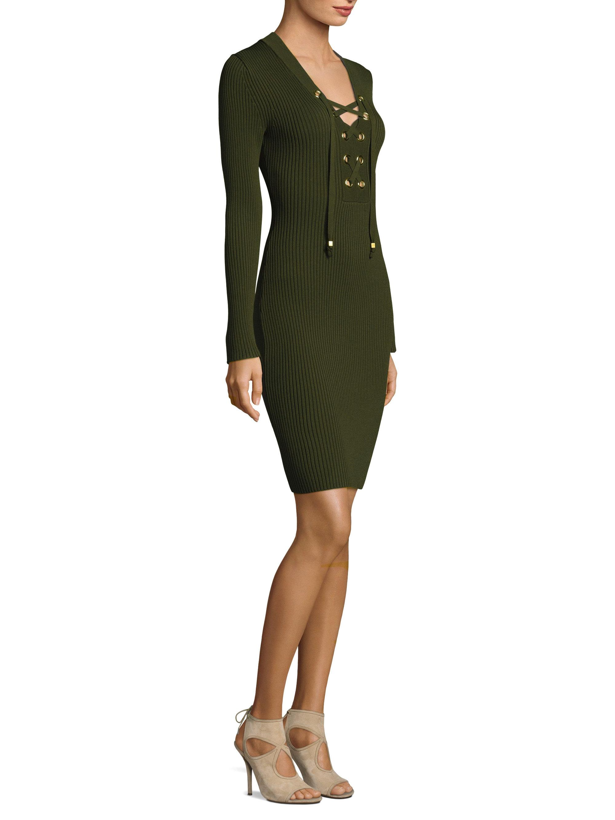 333e056252 Lyst - MICHAEL Michael Kors Lace-up Rib Bodycon Dress in Green