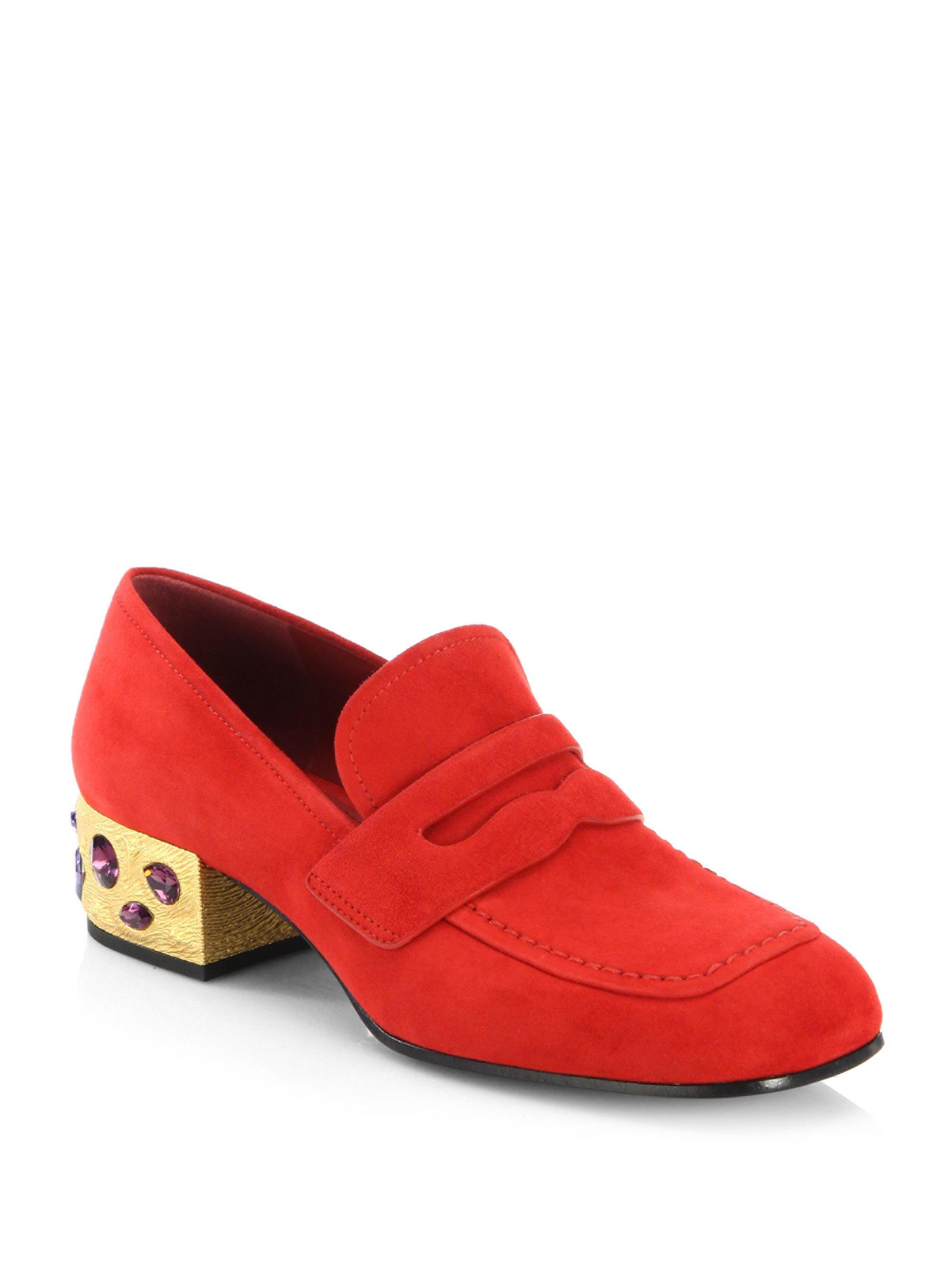 e6eedf2edf5 Lyst - Prada Jewel Heel Suede Loafer Pumps in Red