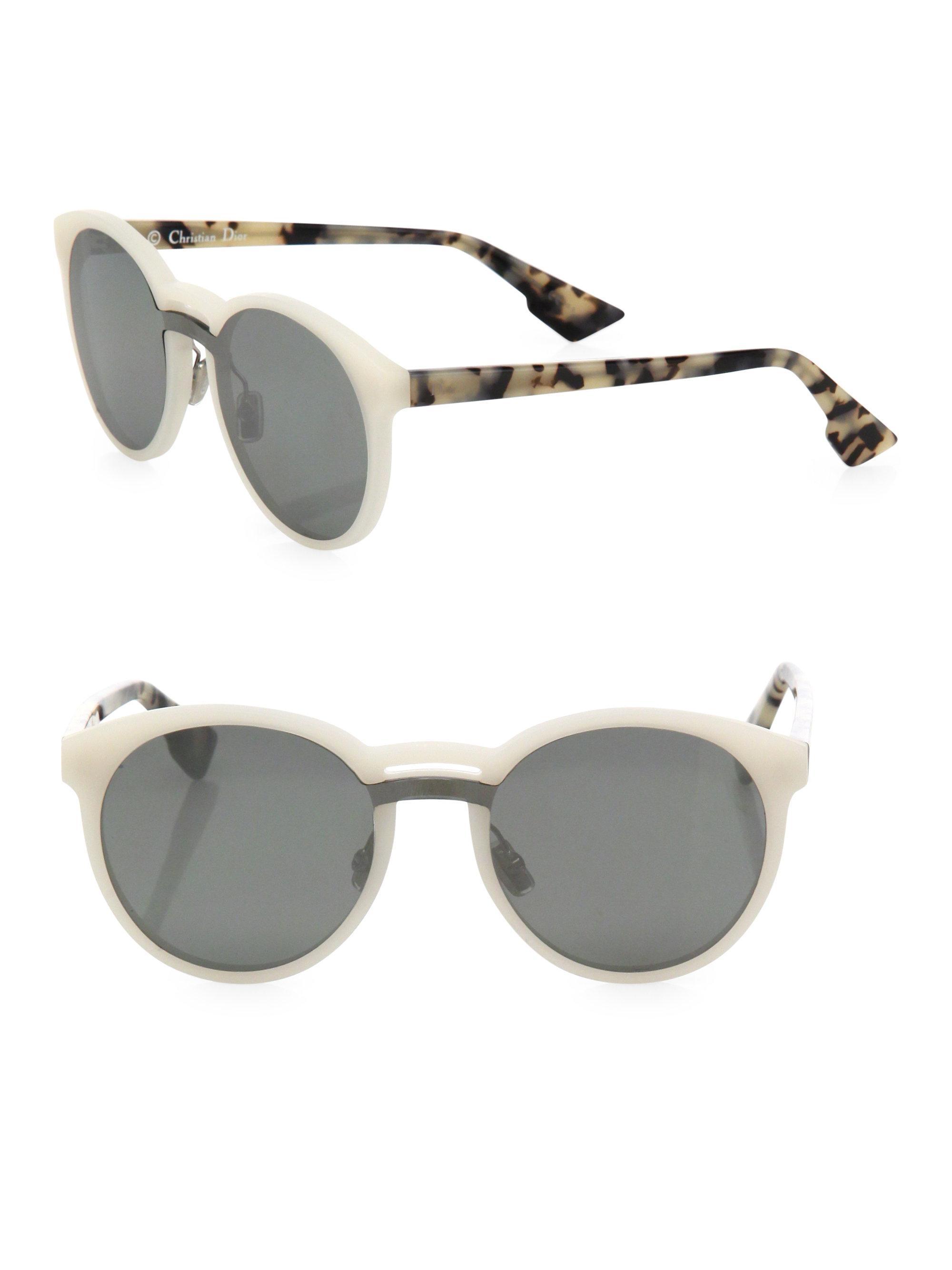 e1060d43c4e Lyst - Dior Onde1 99mm Round Sunglasses in White