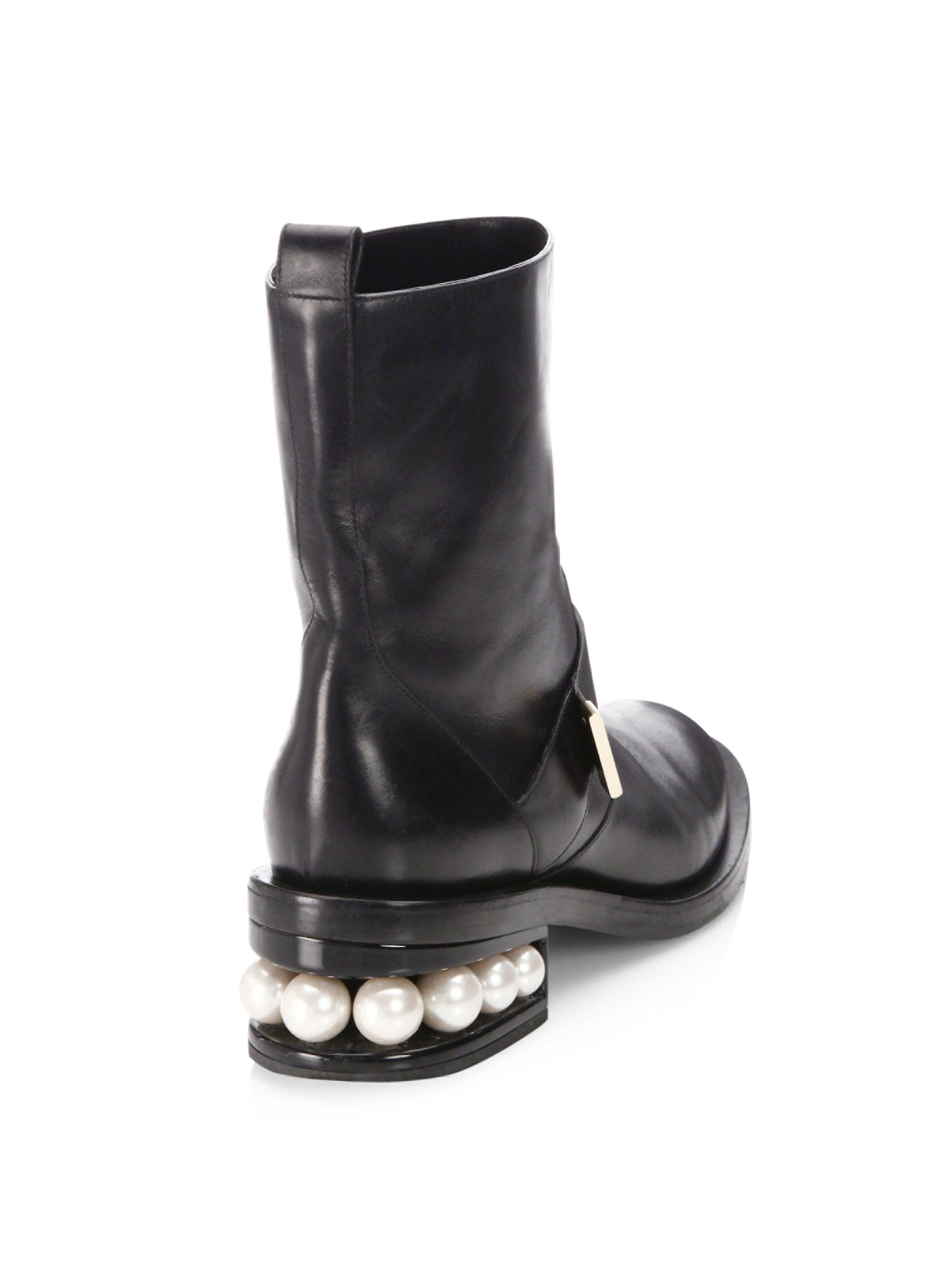 87ffa1dbbdf5 Nicholas Kirkwood - Black Casati Pearl Leather Biker Boots - Lyst. View  fullscreen