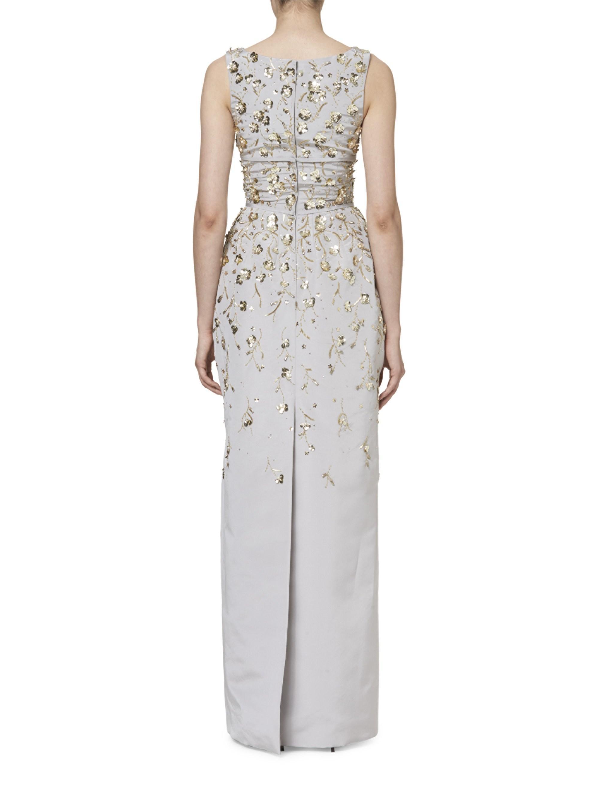 d232173454f Carolina Herrera Embroidered Silk Gown in Gray - Lyst