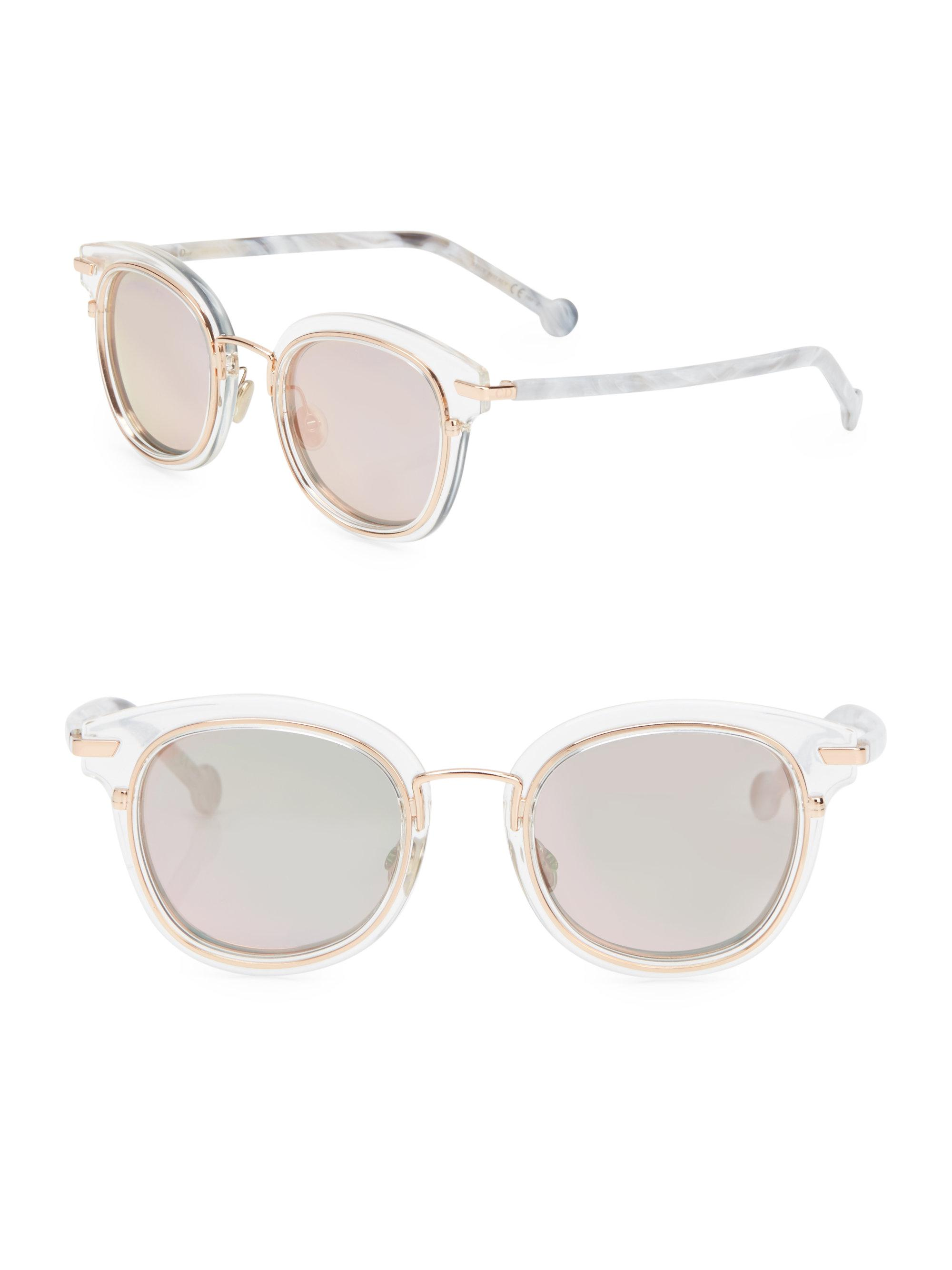 ac9dc516c0e Dior Women s Origins 2 48mm Square Sunglasses - Crystal in White - Lyst