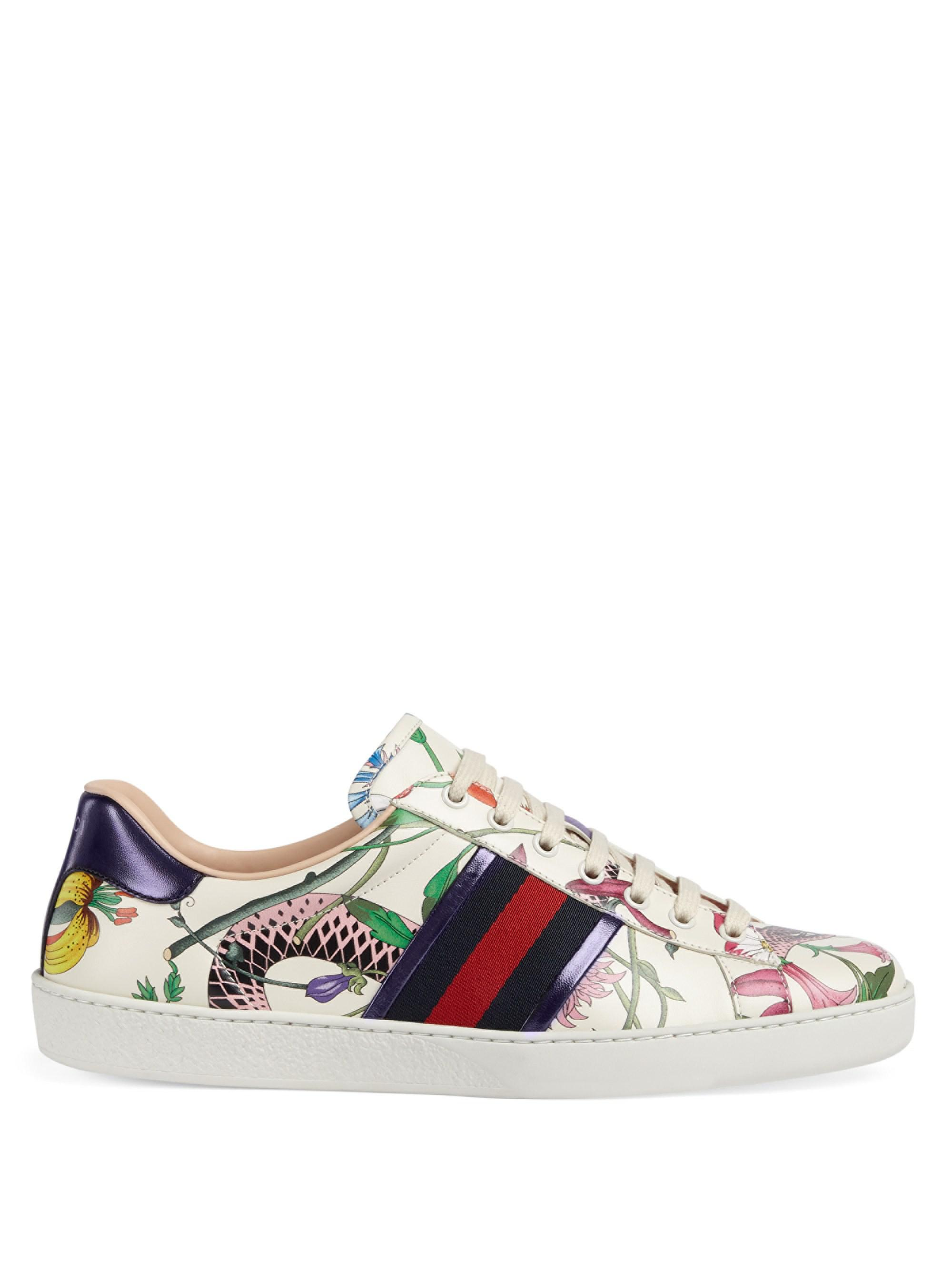 37b7409288091 Lyst - Gucci Men s New Ace Flora Snake Sneakers - White Multi - Size ...