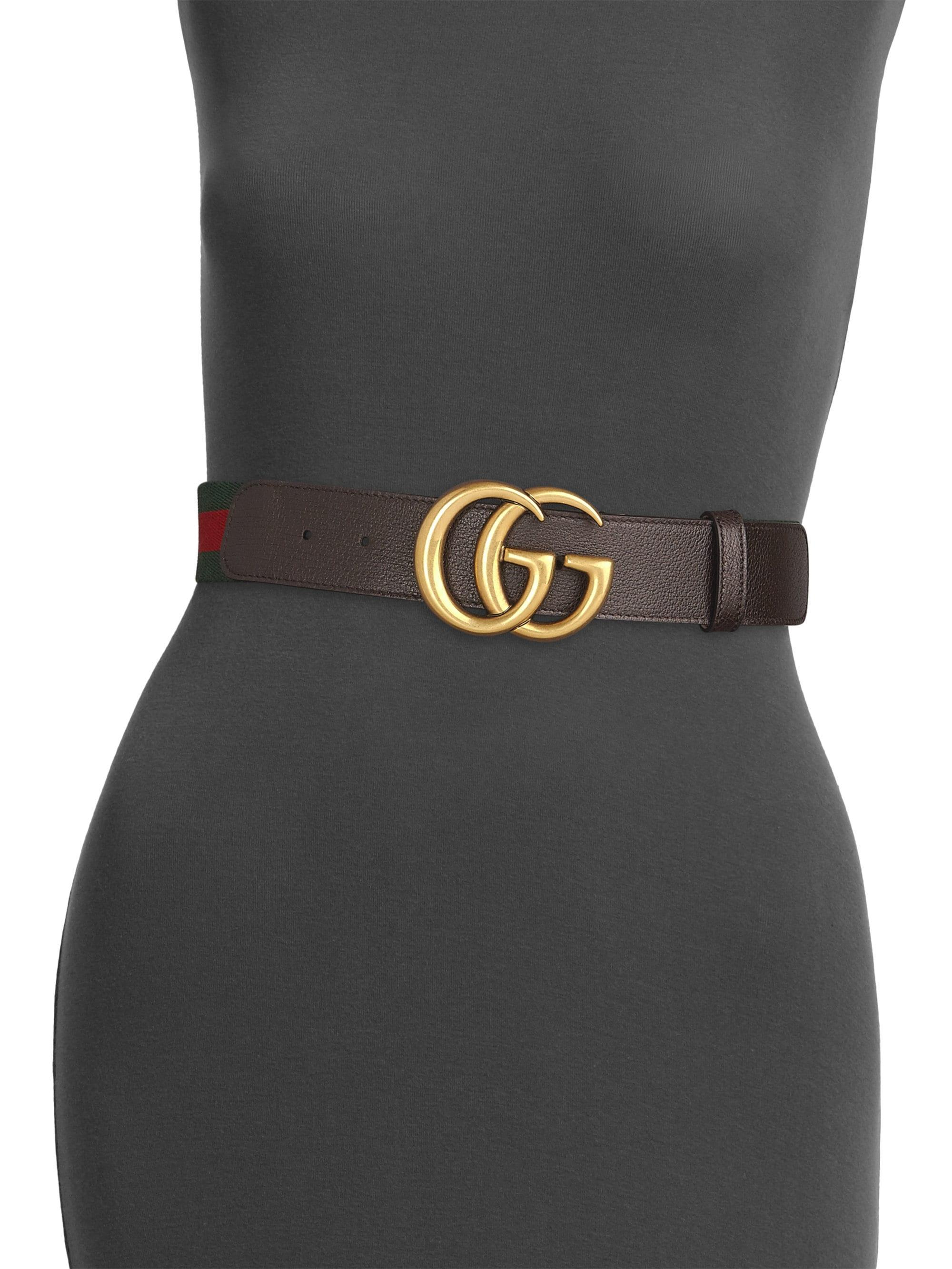 8773faaf0d0 Lyst - Gucci GG Leather   Canvas Belt in Brown