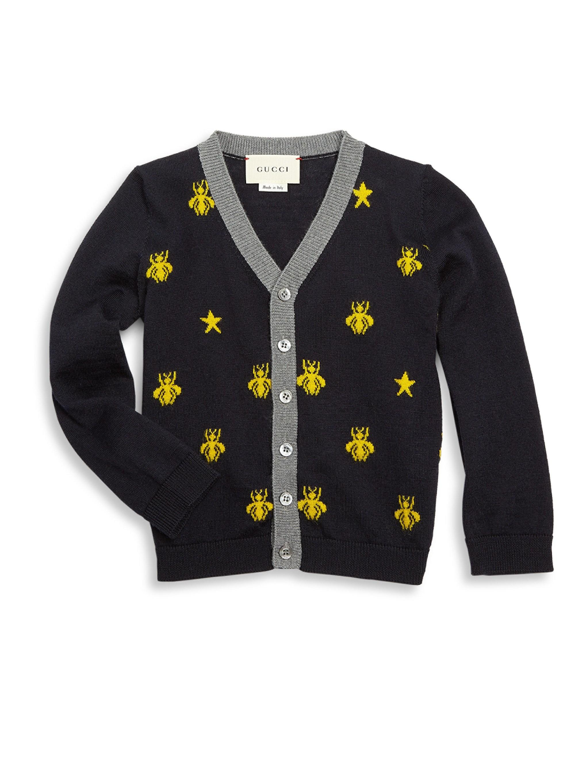 a5cc382af Lyst - Gucci Baby Boy s Bee Wool Cardigan - Navy - Size 6-9 Months ...