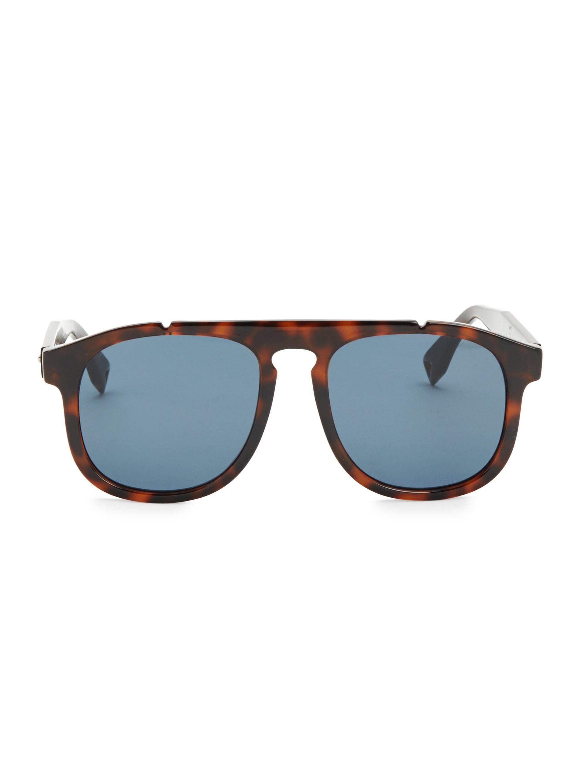 ec05d5681a2 Fendi. Blue Men s 54mm Pilot Sunglasses - Dark Havana.  300 From Saks Fifth  Avenue