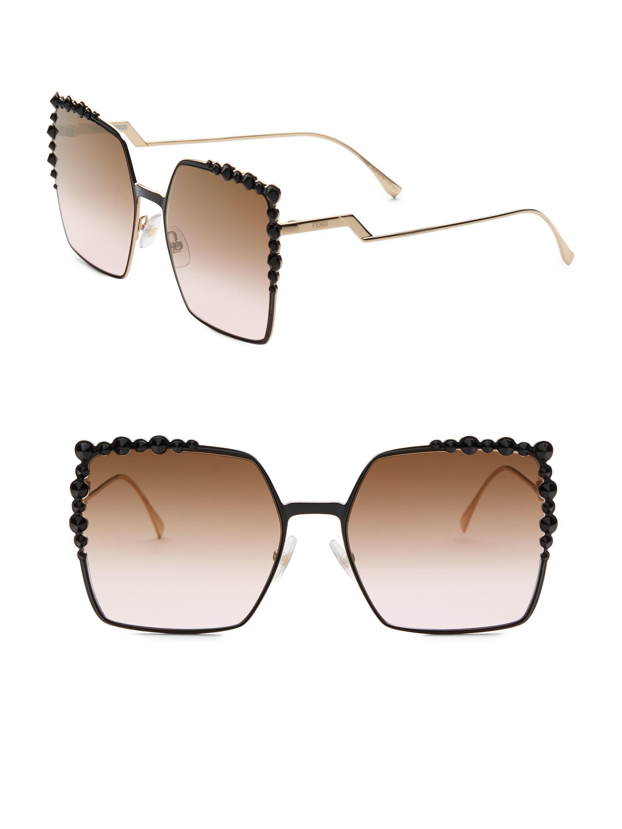 1b396788a81e Fendi 60mm Embellished Square Sunglasses in Black - Lyst
