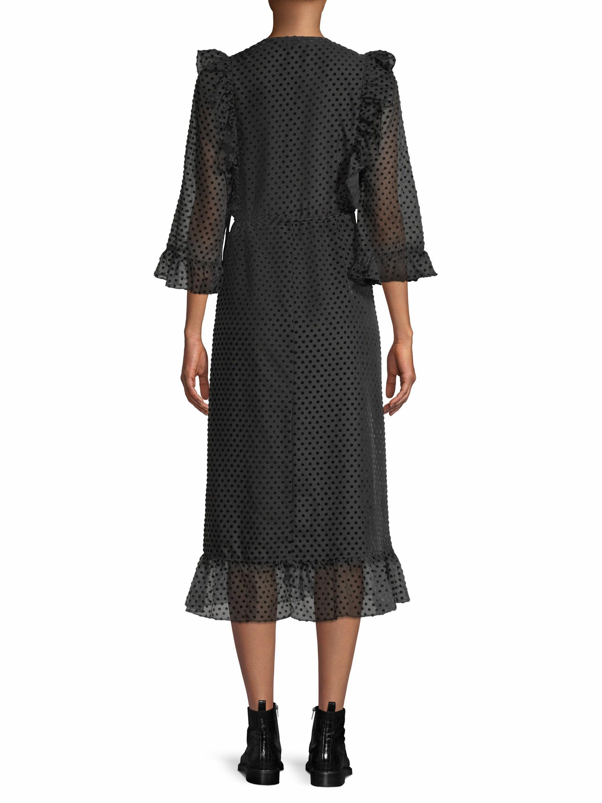 88b2fea0f872 Ganni Jasmine Polka Dot Wrap Dress in Black - Lyst