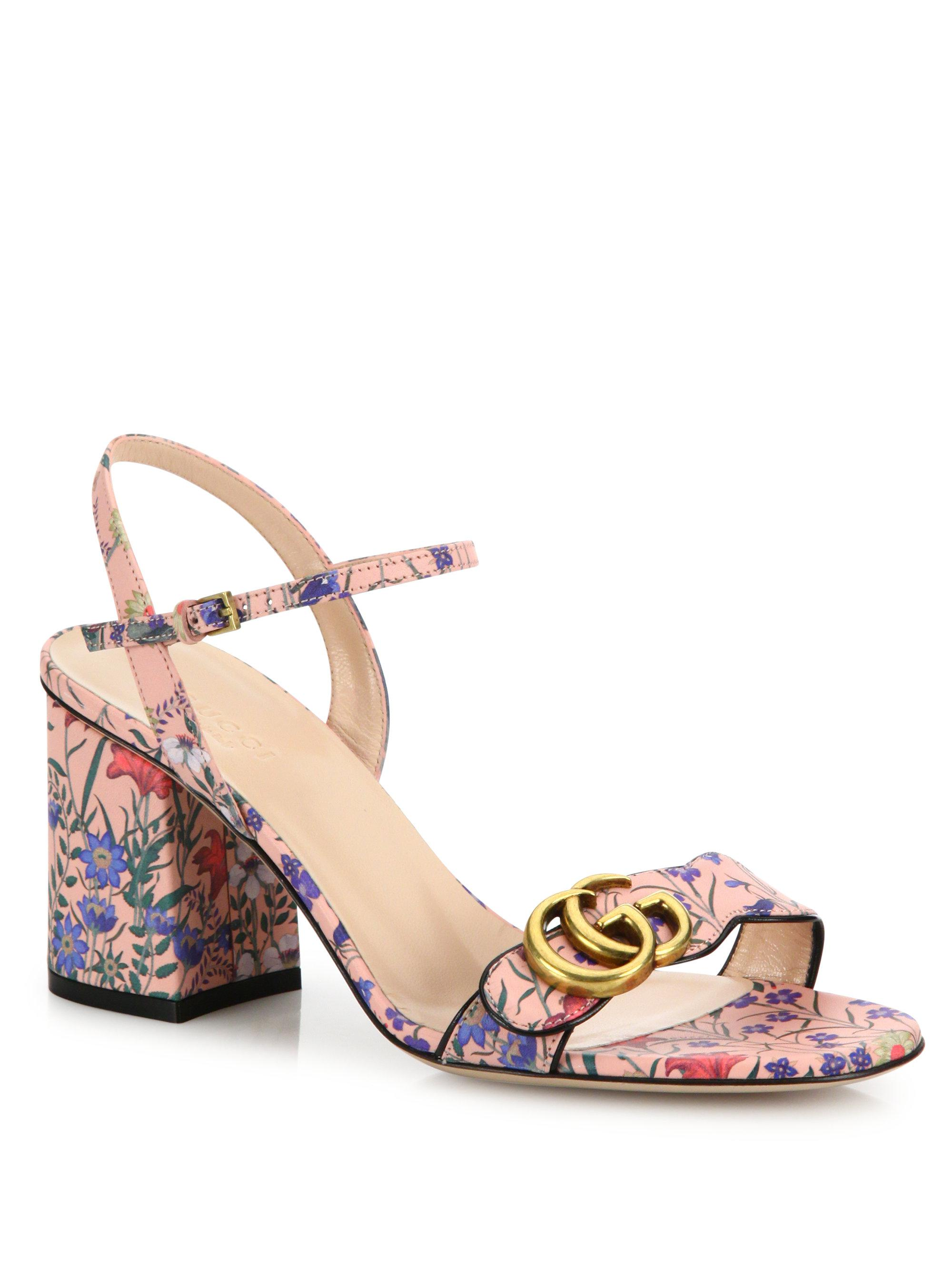 e8d494e11964df Lyst - Gucci Marmont Floral-print Leather Block-heel Sandals in Pink