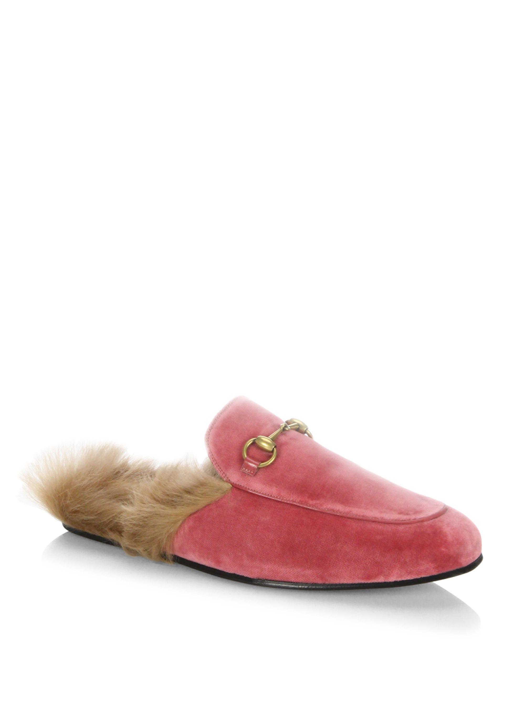 b7c058f2f Lyst - Gucci Men s Princetown Velvet Slipper - Red - Size 5 Uk (6 Us ...