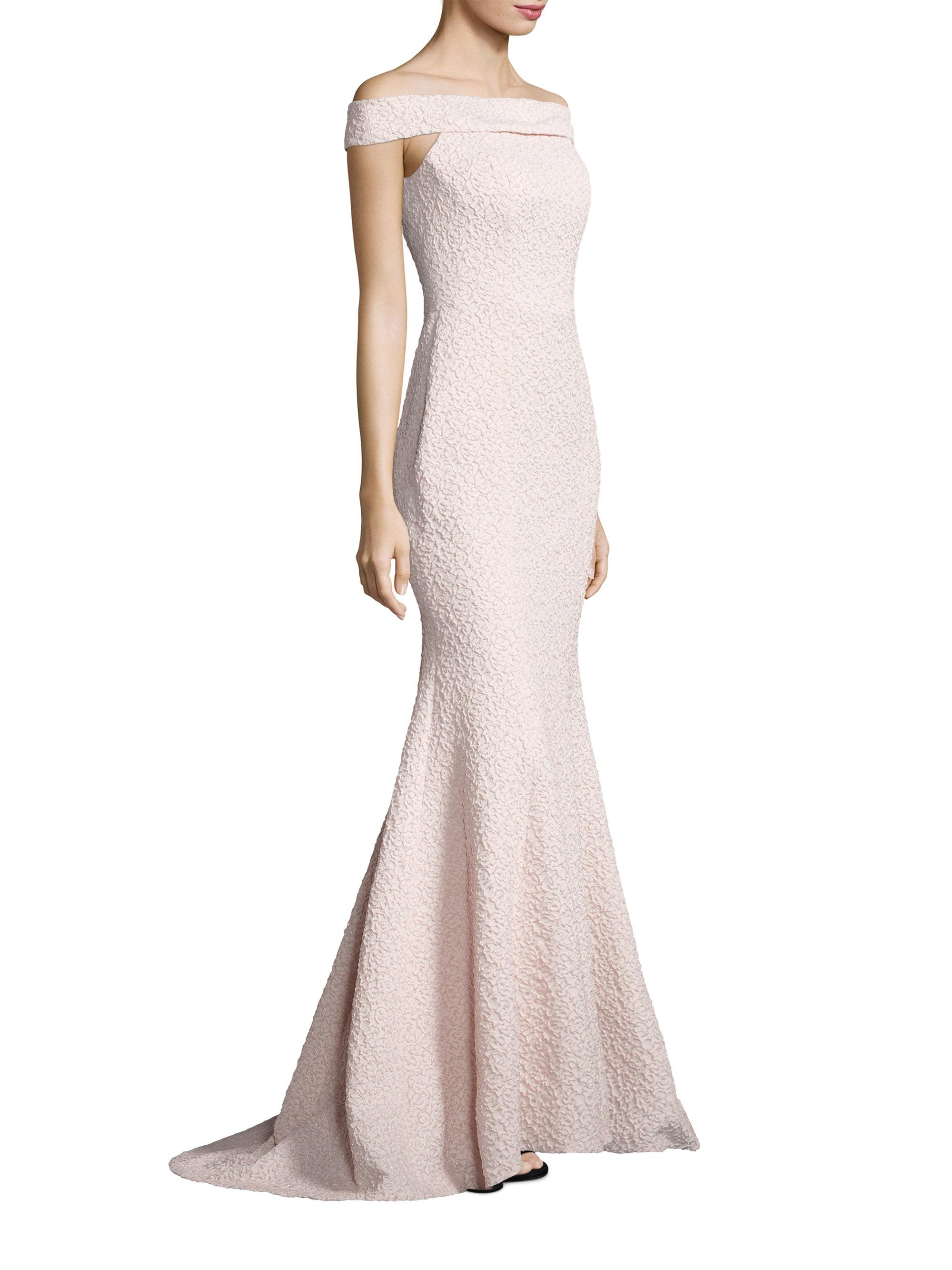 bbc567a88c00 Alberto Makali Textured Off-the-shoulder Gown in Pink - Lyst