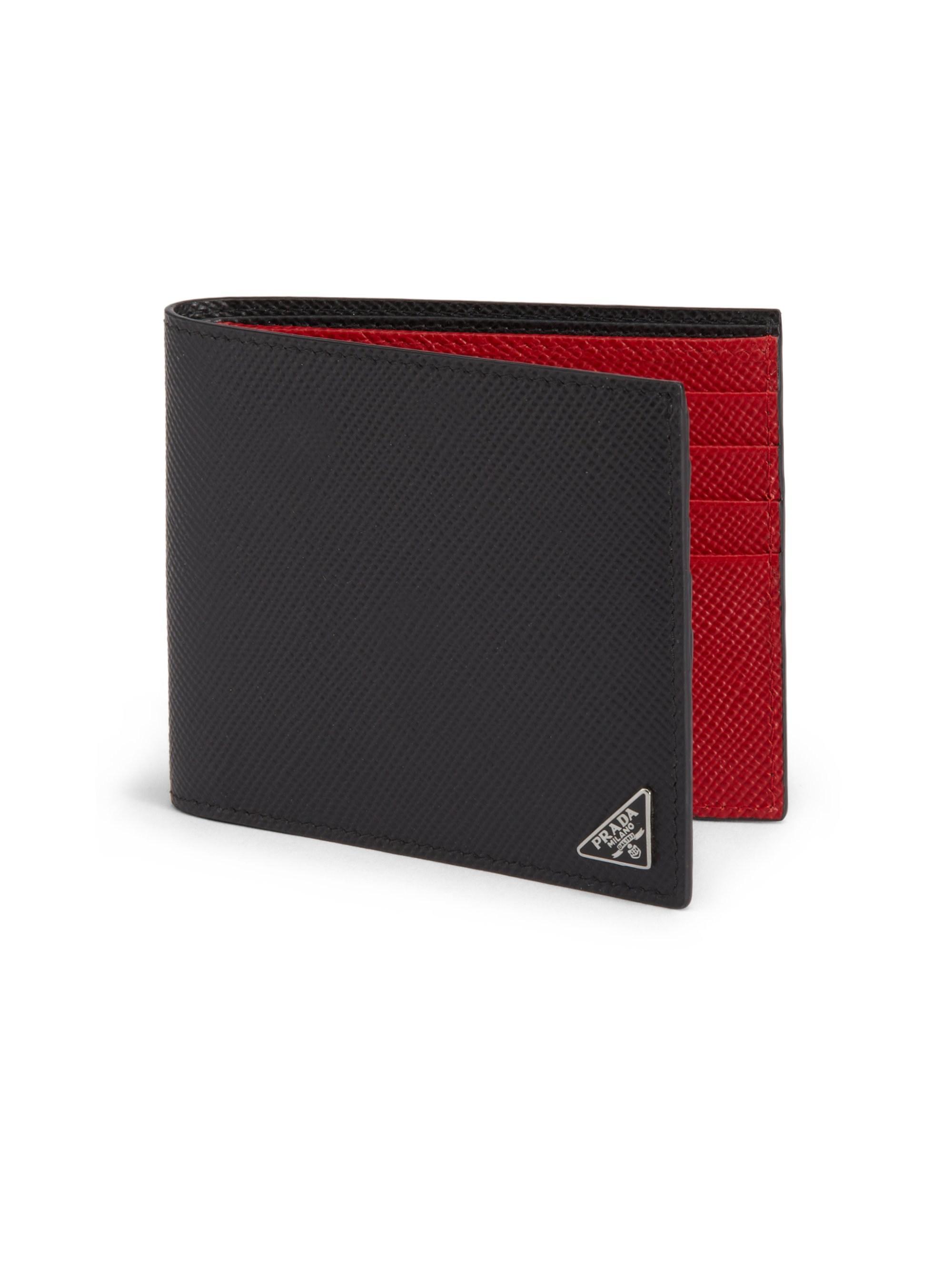 f63e847e4097 Prada Men's Saffiano Cuir Billfold Wallet - Black/red in Black for ...