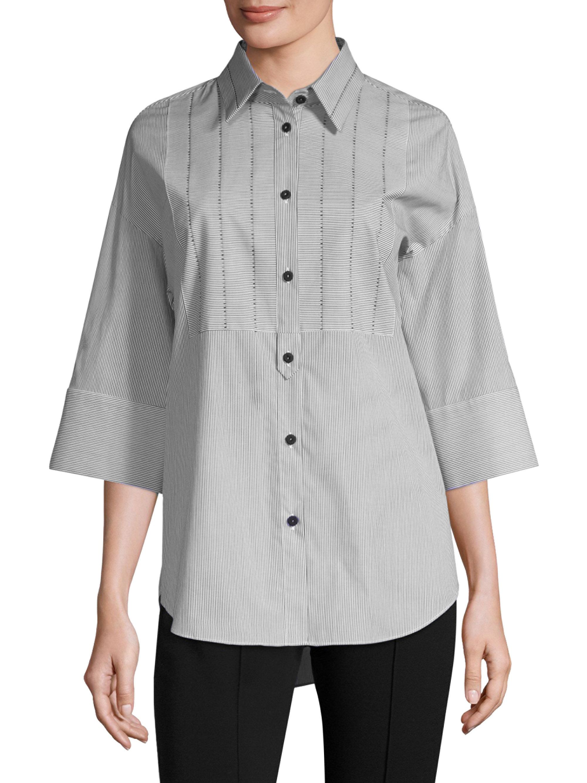 Lyst Piazza Sempione Stripe Starch Cotton Shirt In Gray