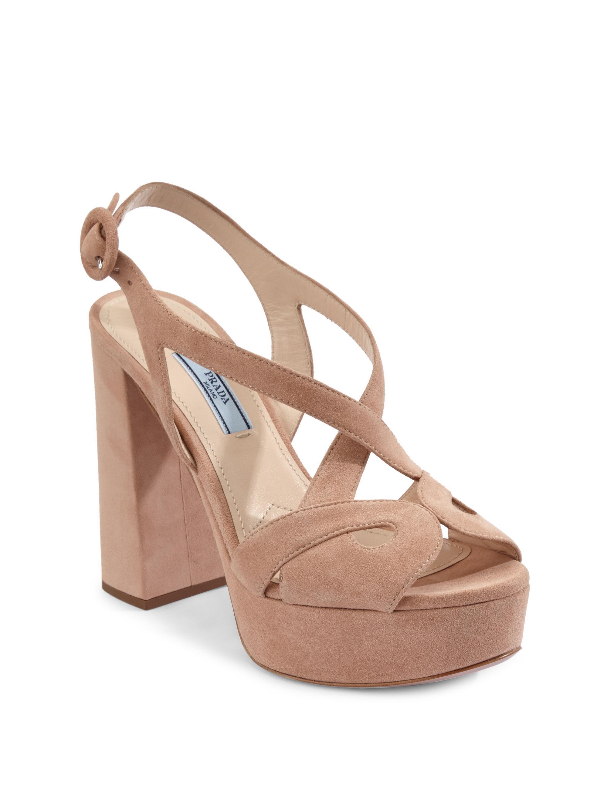 7daaf8ff941 Lyst - Prada Suede Platform Sandals in Natural