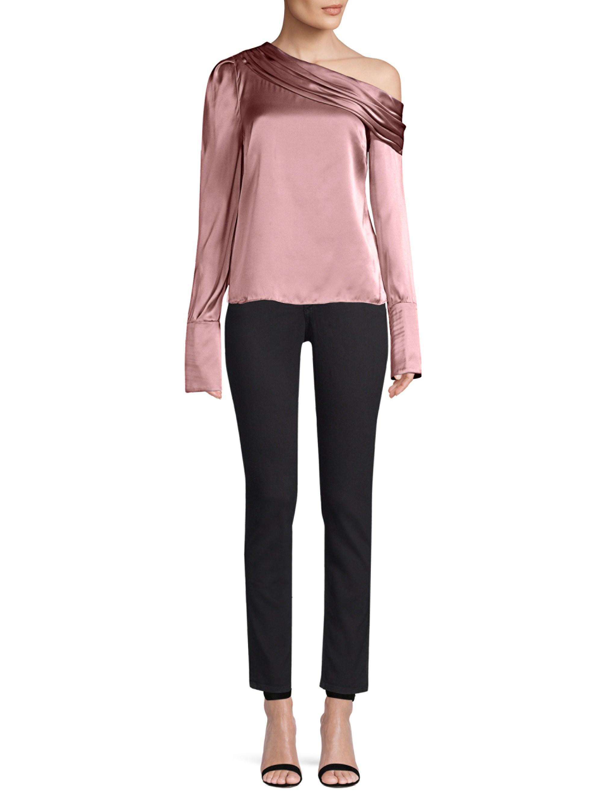a259d933055b0 AMUR Women s Monica One-shoulder Blouse - Dusty Rose - Size Medium ...