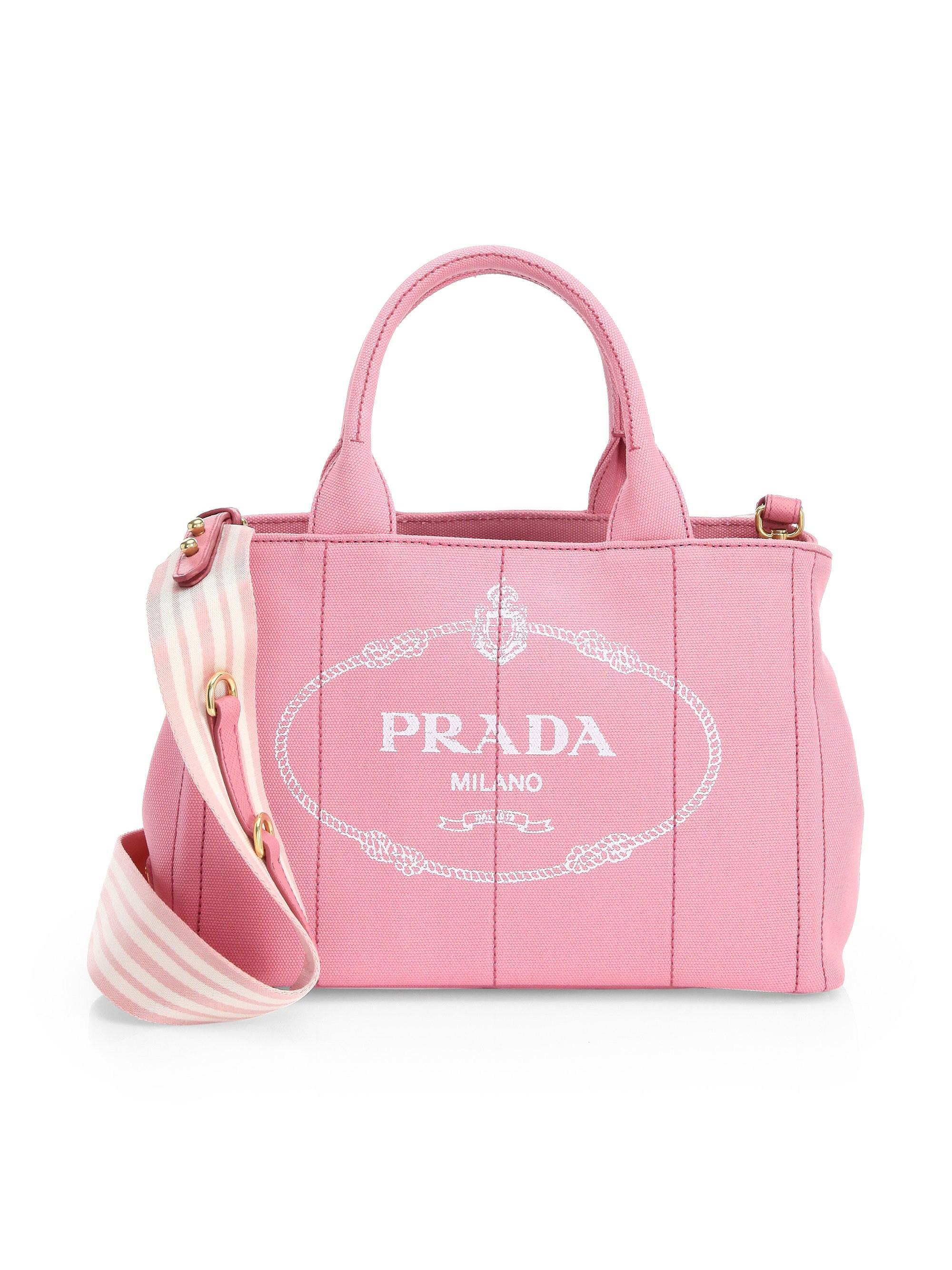 20e52727ed48 Prada Women's Small Canvas Shopper - Blue in Pink - Lyst