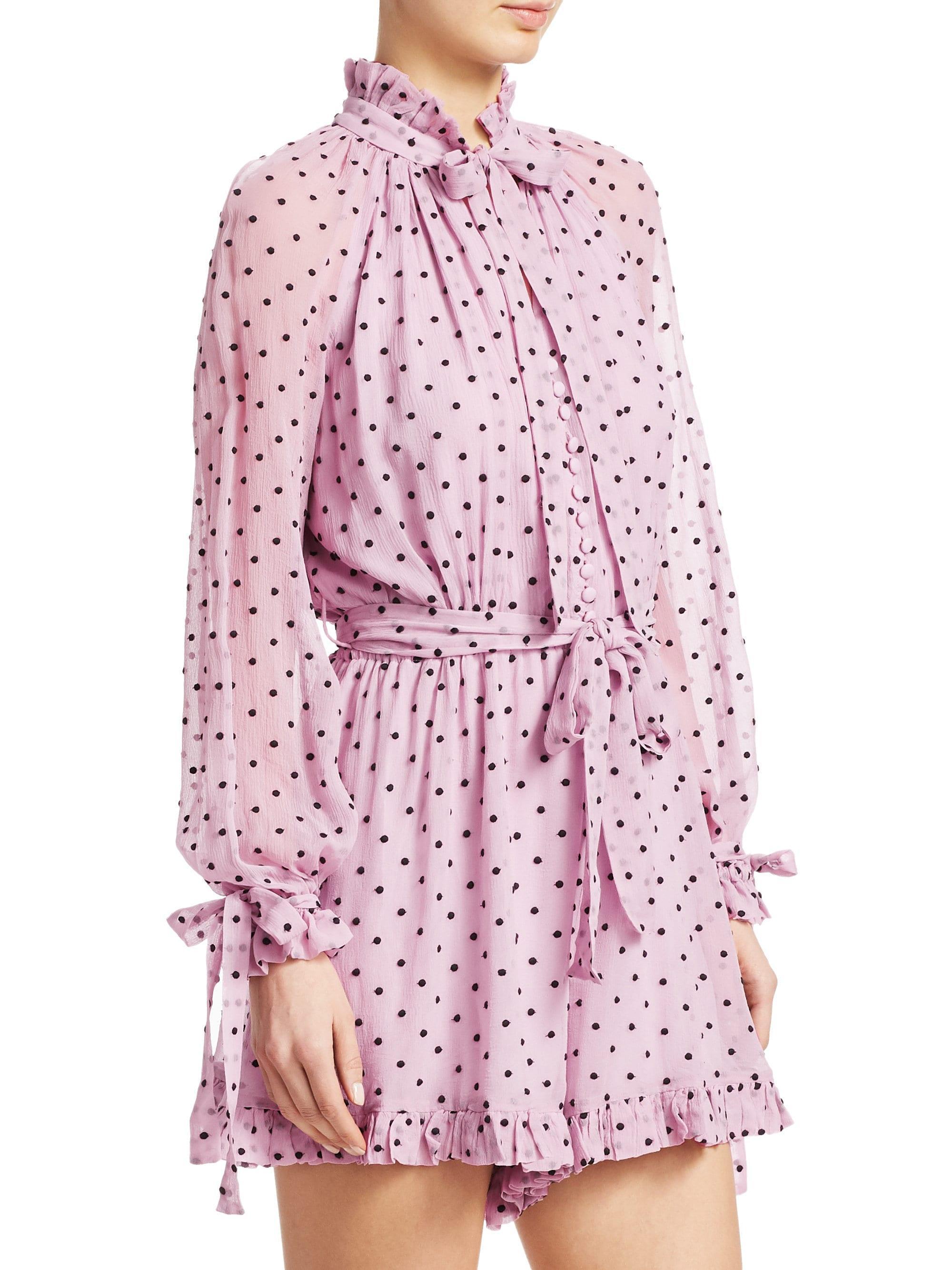 e340af1abe Zimmermann Women s Polka Dot Silk Playsuit - Lilac Dot - Size 0 (2-4) - Lyst