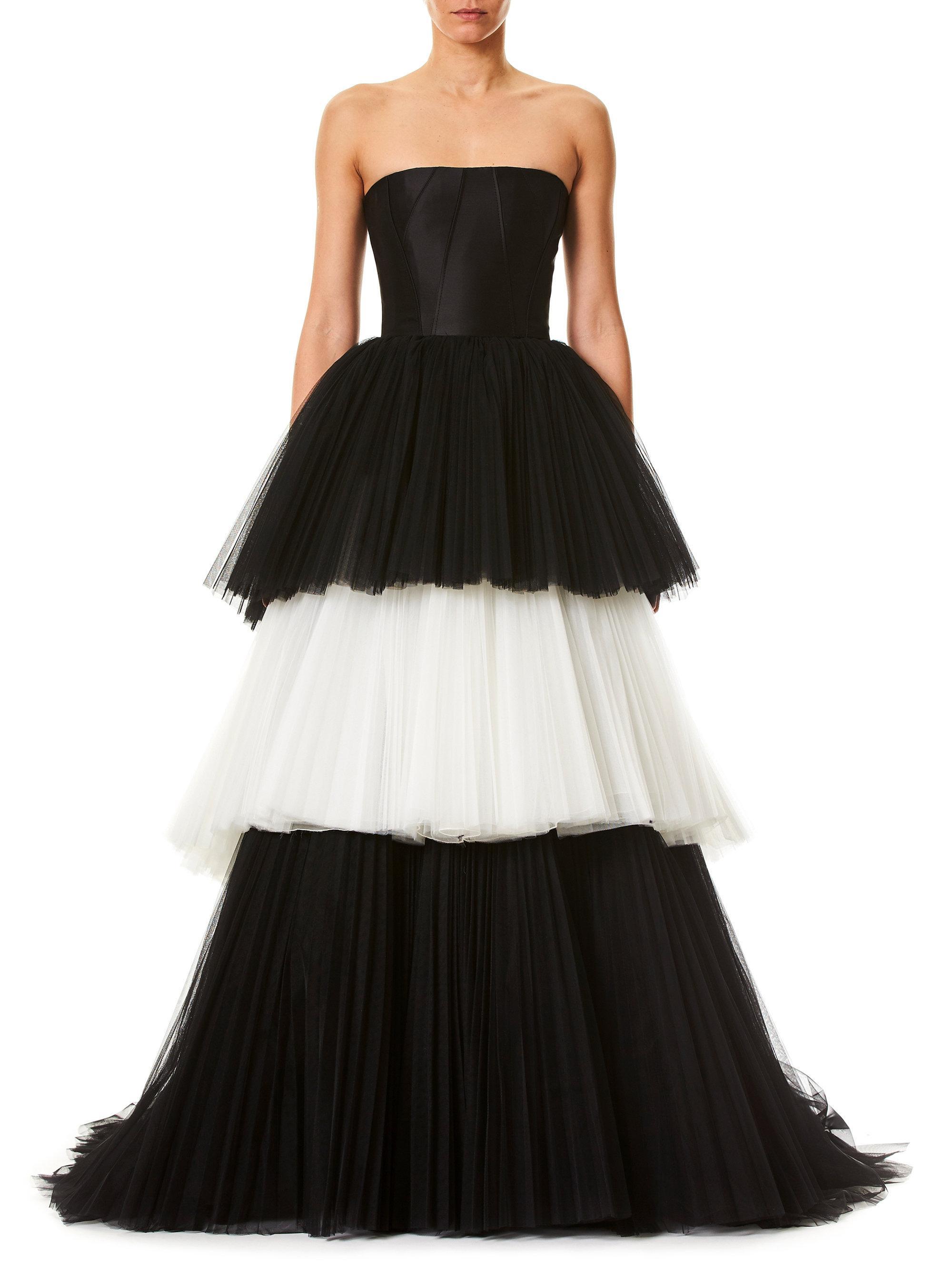 Lyst - Carolina Herrera Strapless Tulle Ball Gown in Black