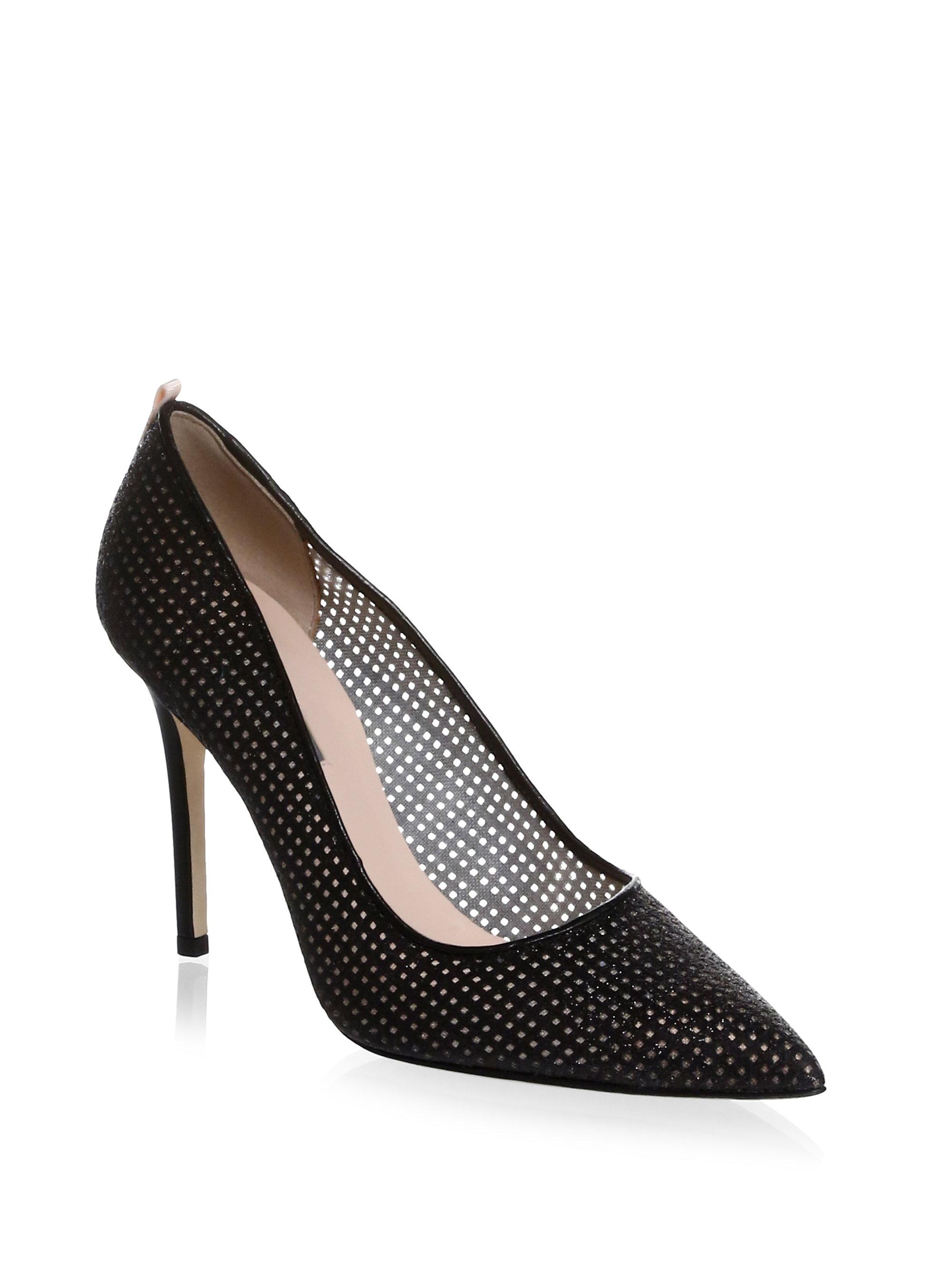Sjp Fawn Perforated Leather Stiletto Pumps