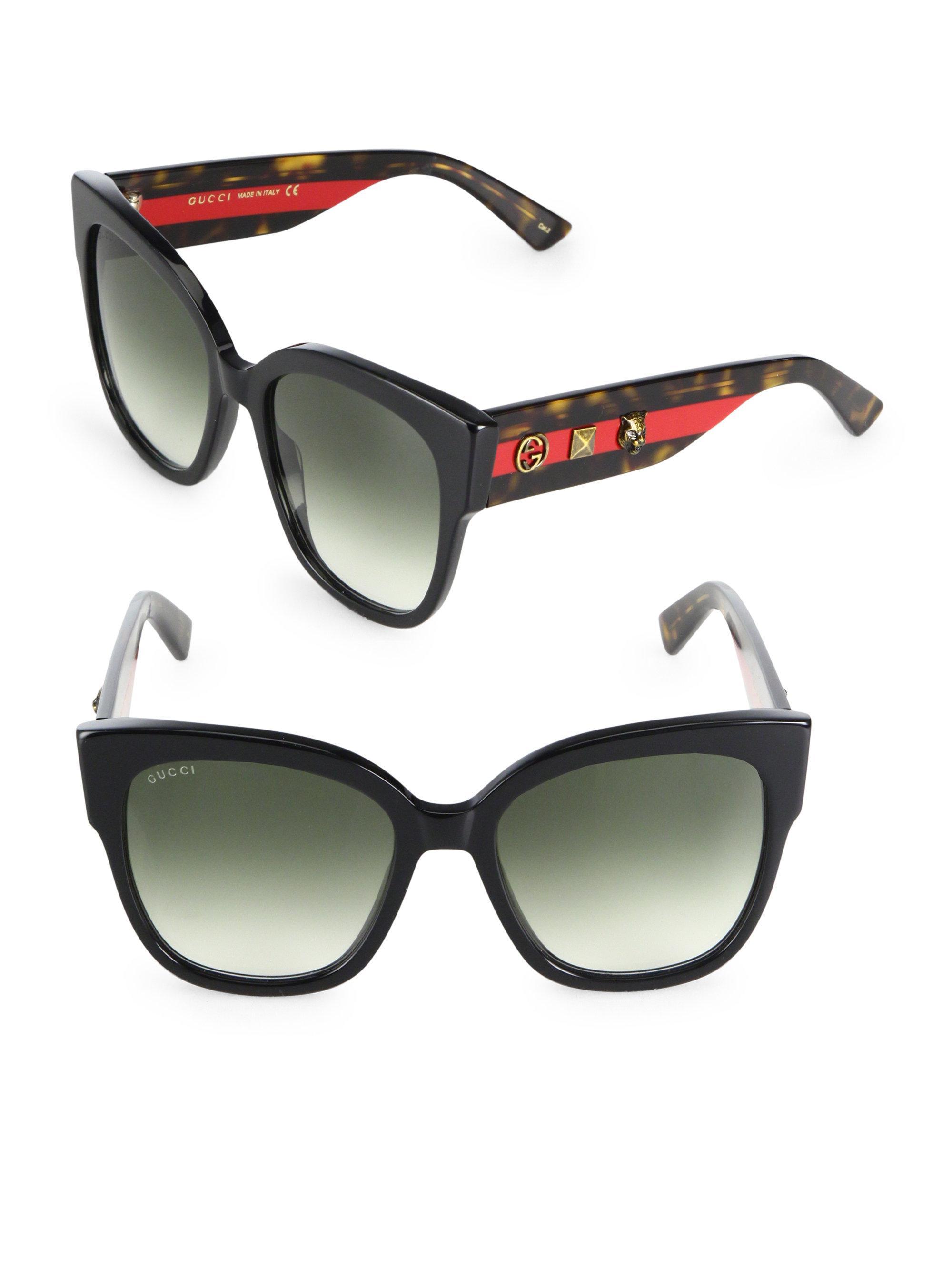 e0e91755a Lyst - Gucci 55mm Oversized Studded Square Cat Eye Sunglasses in Black