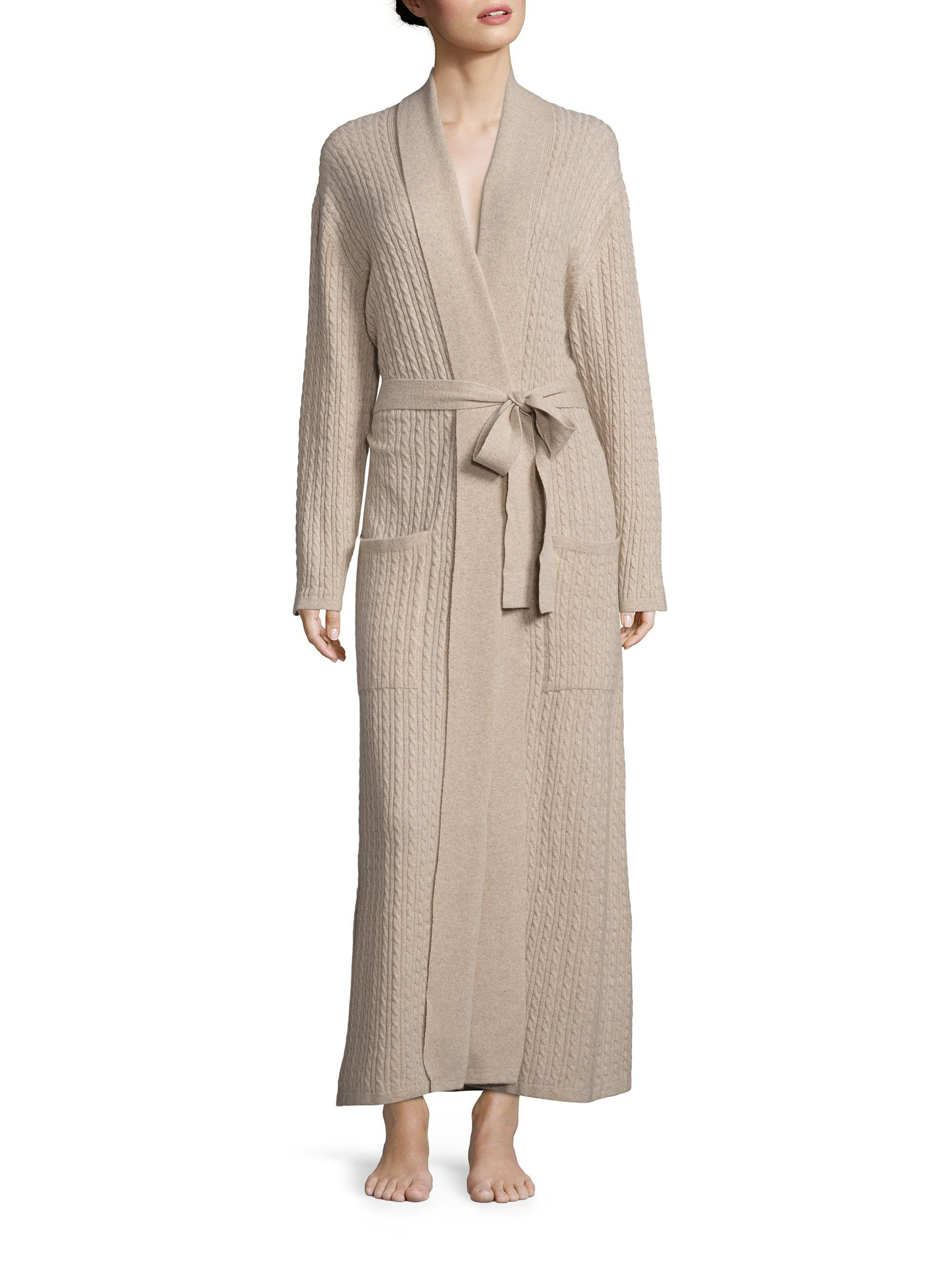 0d6641e80ff Arlotta By Chris Arlotta Women s Long Cable Cashmere Robe - Oatmeal ...