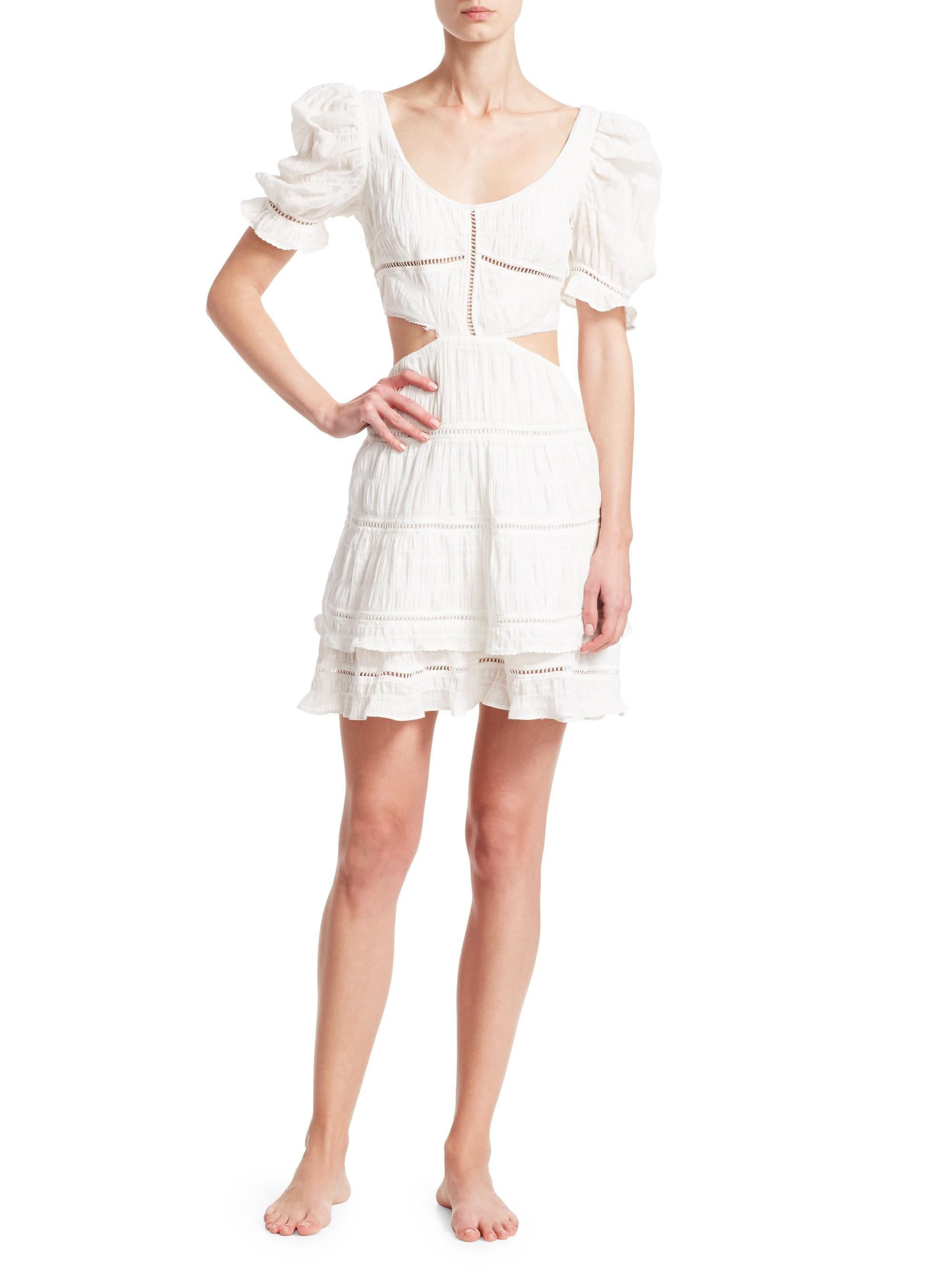 f1aaea2551 Lyst - Jonathan Simkhai Women s Lace Combo Cut Out Mini A-line Dress ...