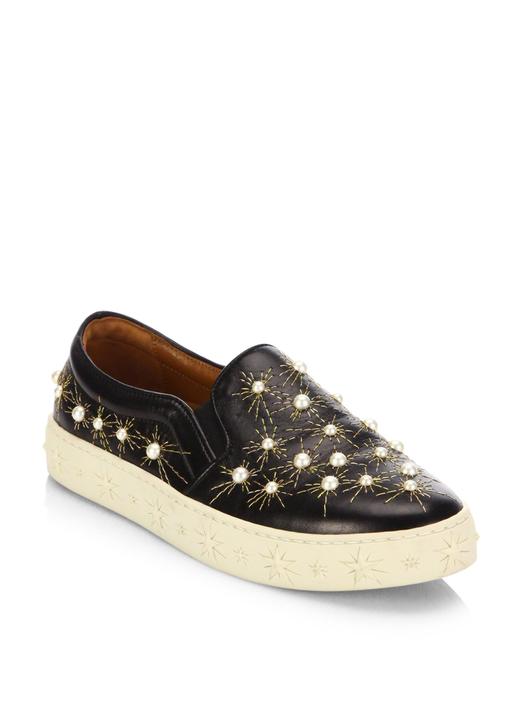 Fast Delivery Outlet Store Locations Aquazzura Cosmic Pearl leather slip-on sneakers Buy Cheap 100% Original p0Nmej