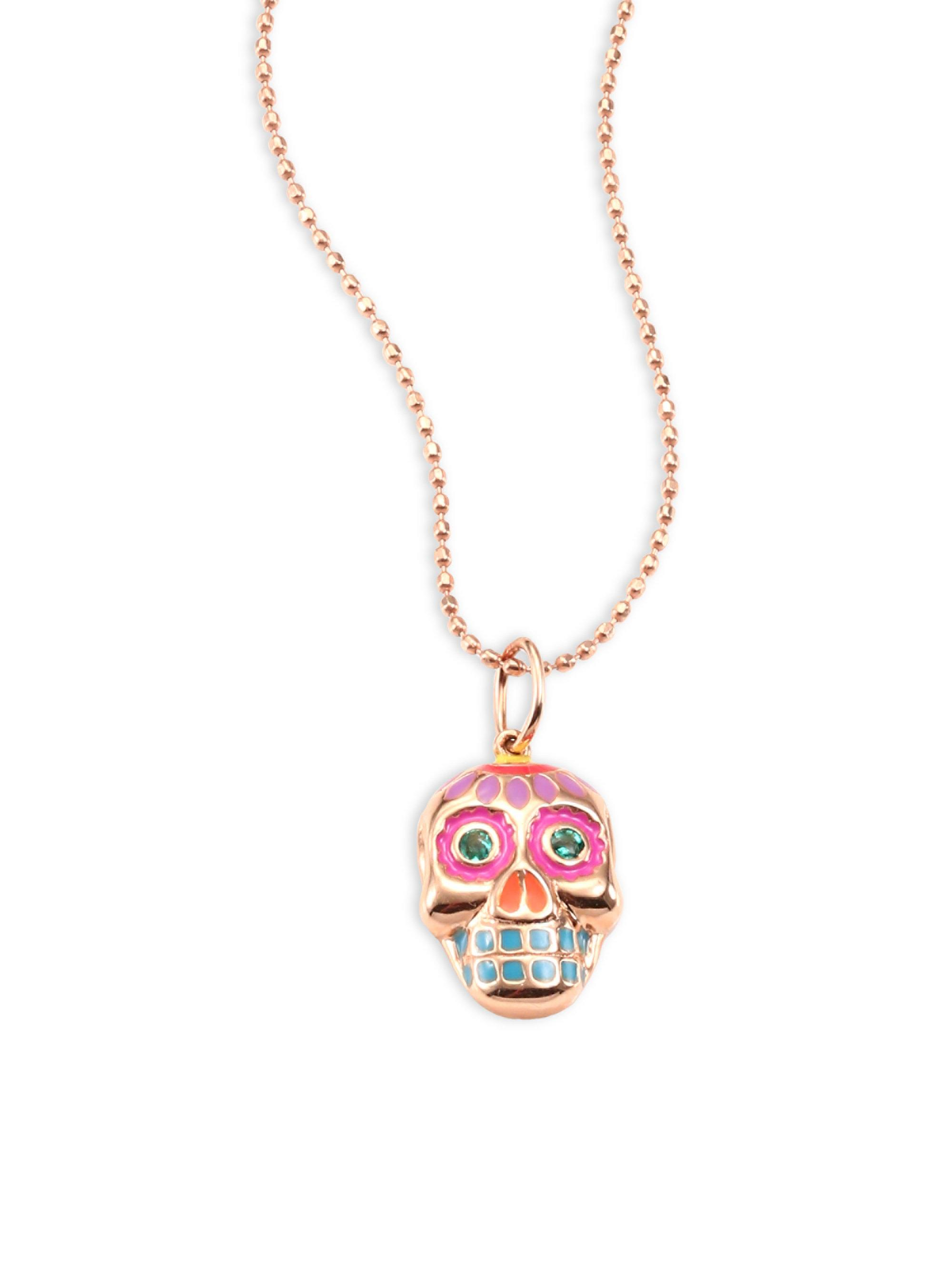 Lyst sydney evan small sugar skull emerald 14k rose gold pendant sydney evan womens metallic small sugar skull emerald 14k rose gold pendant necklace aloadofball Image collections