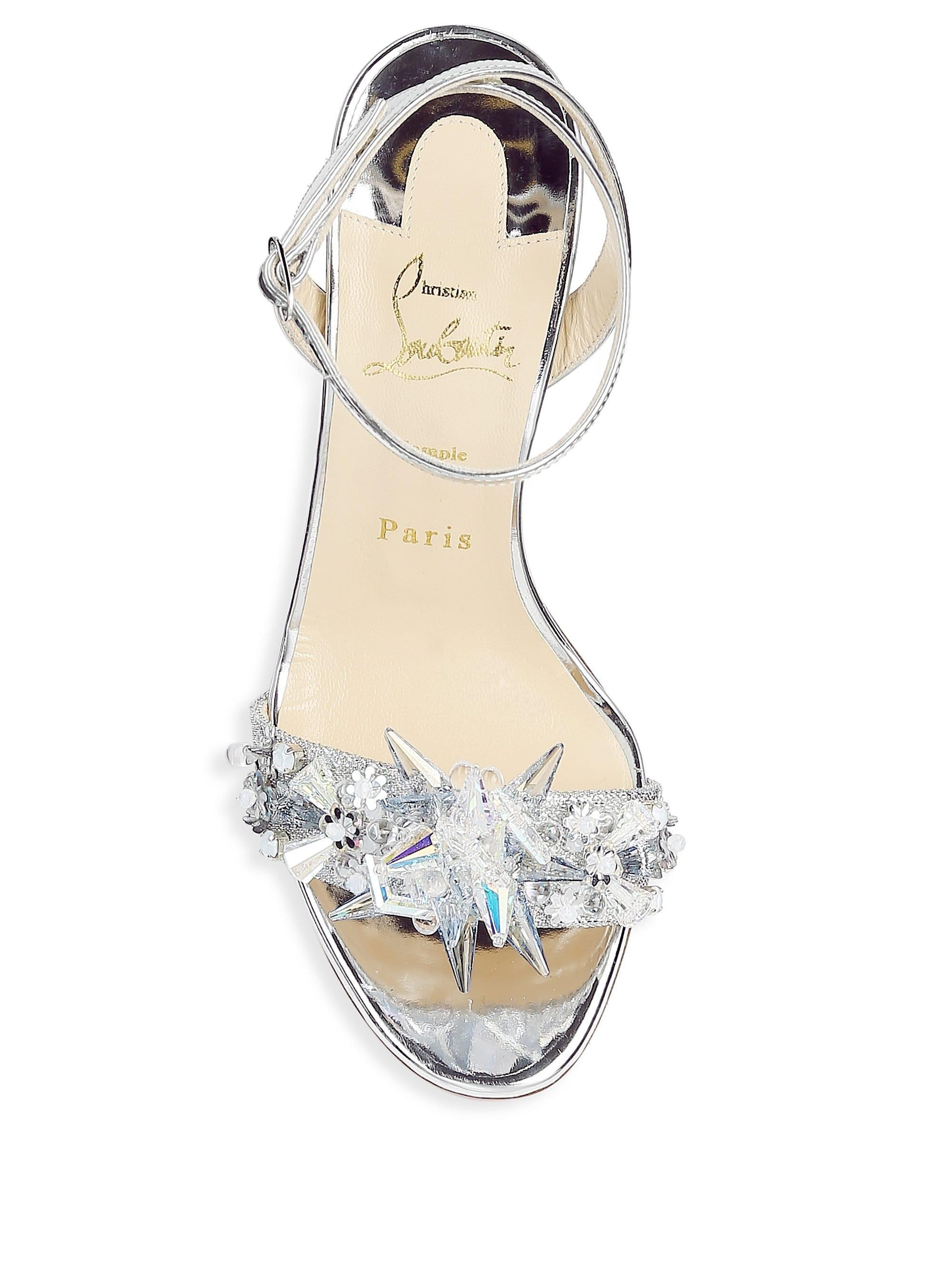 ebfb0c225 Christian Louboutin Oxydock 100 Metallic Crystal Sandals in Metallic ...