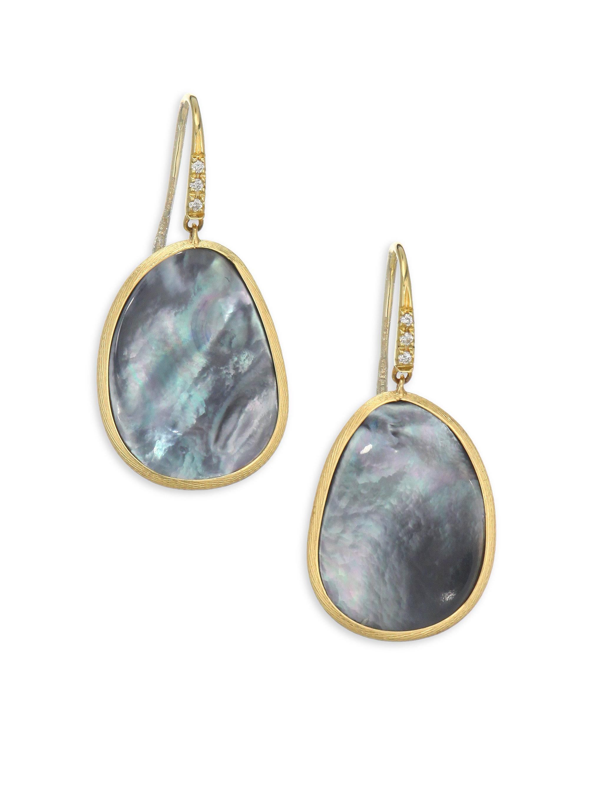 Marco Bicego Lunaria Stud Earrings with Black Mother-of-Pearl q2V5Z1trvZ