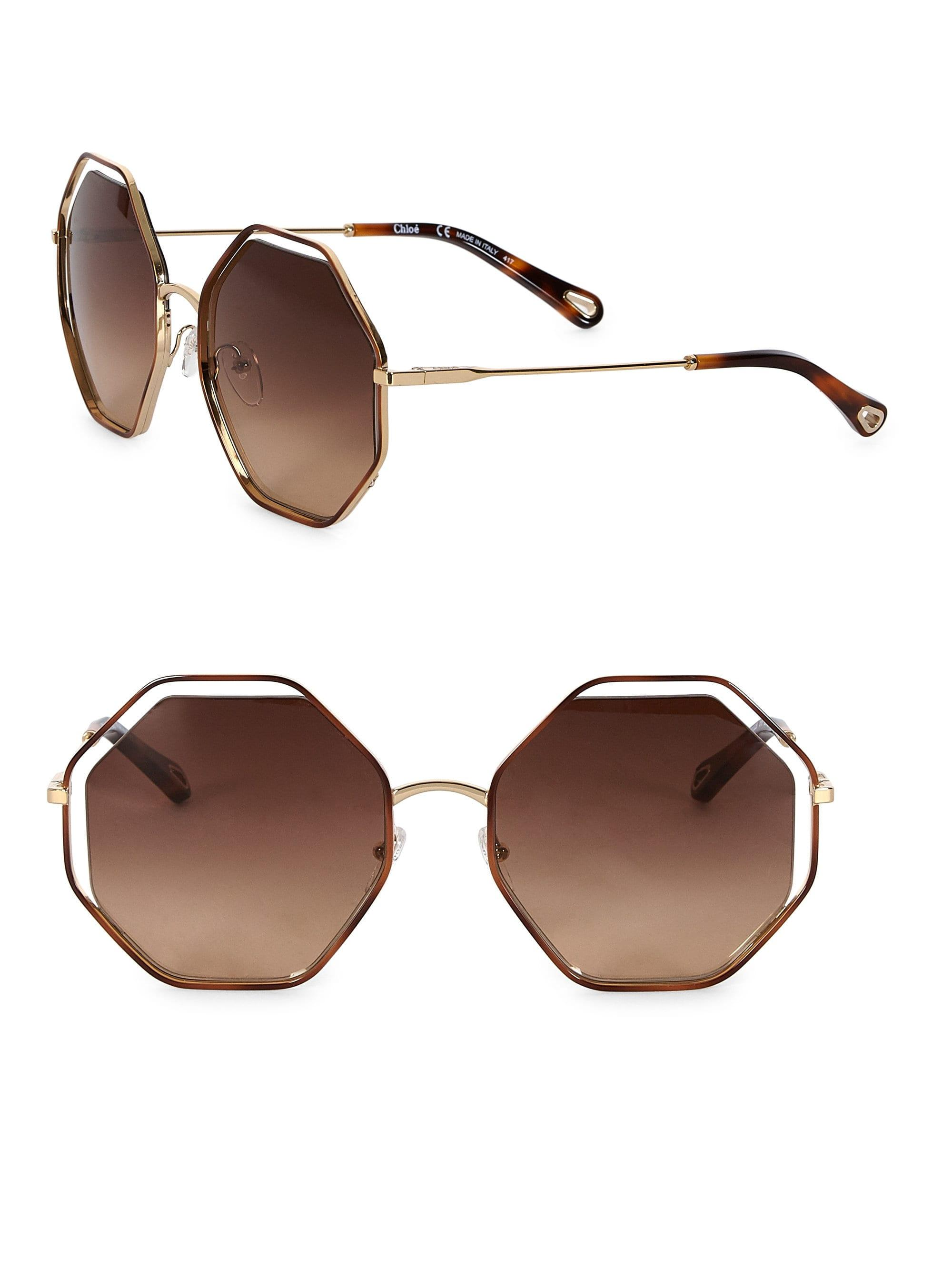 768ad2b088d Chloé Poppy Octagon Sunglasses in Brown - Lyst